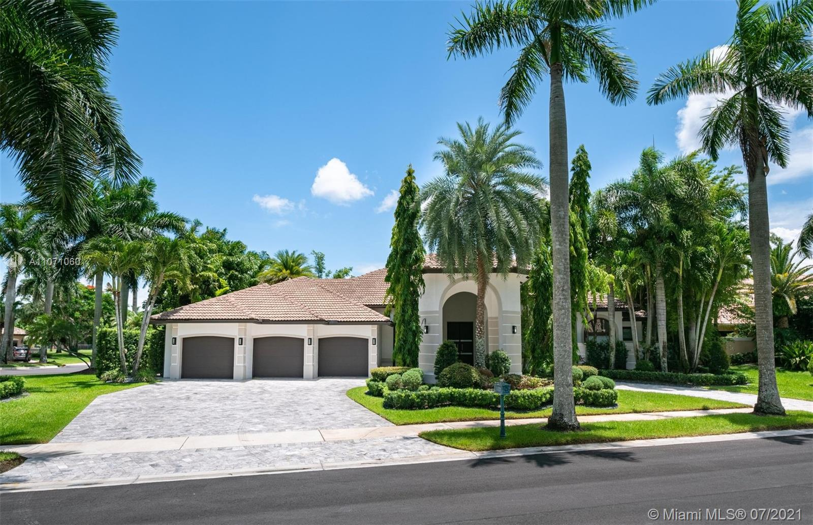 This Smart Home Is Immaculate and Fully Remodeled. Sound System, Cameras and Speakers by SONOS in The Entire Home. Featuring 5 BR/5.5 BA/Office/Gym/Sauna. Perfectly Set on a 1/2+ acres lot.  Designer Bathrooms, Top-of-the-line GD Italian Kitchen, MIELE Appliances.  Marble Floors, Smooth finish walls, Dry Wall Ceiling Designs with LED Lighting. Custom Closets, Cabinetry and Italian Doors. High-End Motorized Window Treatments. New Fast-Speed Pool Heater Pump, 4 AC units, Double-Pane Impact Windows & Central Vacuum are Some of The Features. Enjoy The Fully Fenced Backyard Perfect for Kids (Playground) & Pets. A Unique Outdoor Living Space With A Custom Designed Wood Pergola Fully Equipped (TV & Appliances). A 3-Car Garage with Cabinets/Storage. Stop by this Majestic Porte-Cochere and Come in!