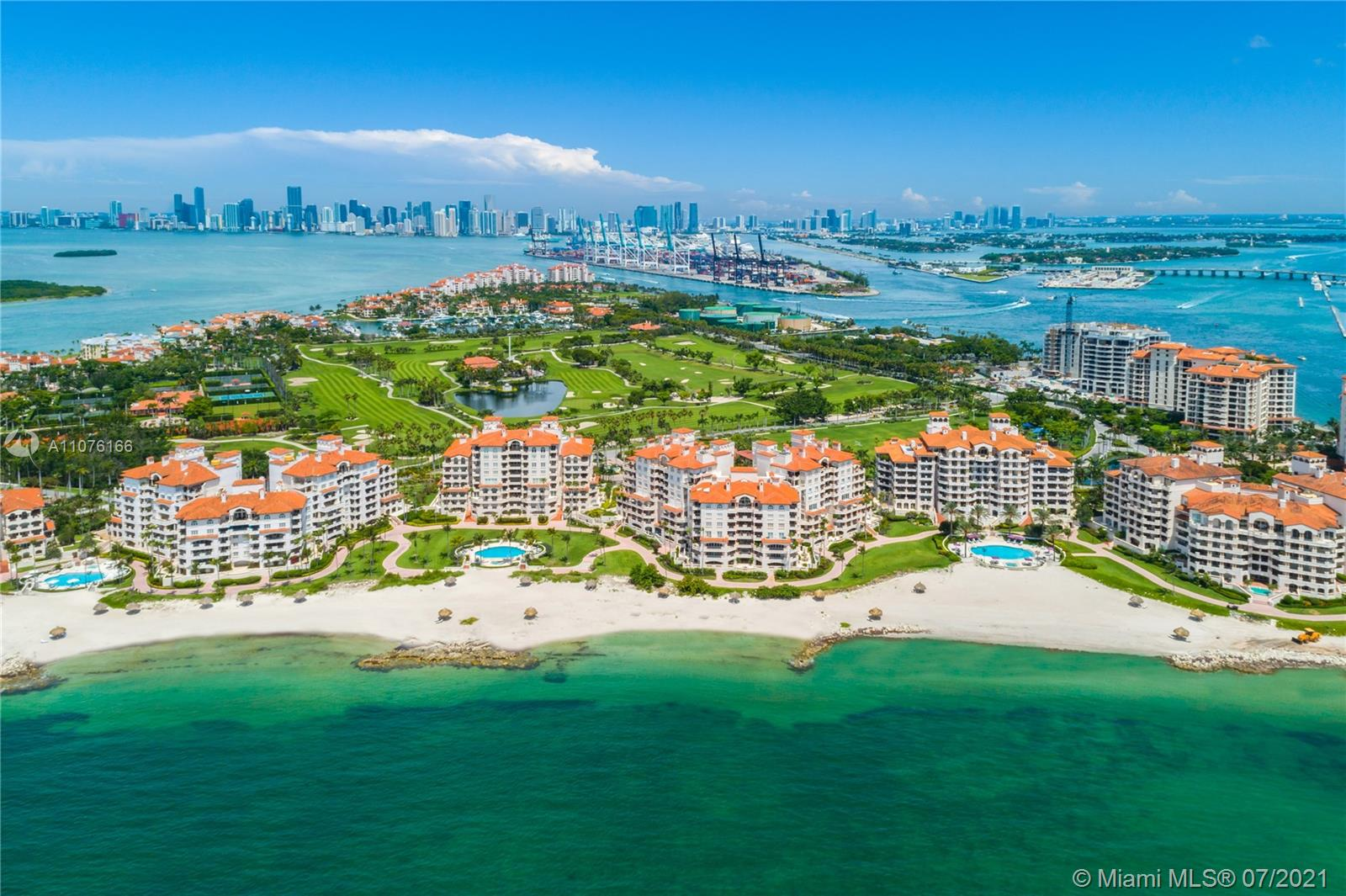 This stunning center-stack Oceanside unit redefines luxury living at its finest. Located in one of the most desired buildings on Fisher Island it offers breathtaking east and west views from the 5th floor. Features include: 4,590 sq. ft. interior, 3 bedrooms + family room with terrace, 3.5 baths, expansive balconies overlooking the ocean perfect for entertaining, open layout, marble floors throughout, impact glass doors and windows, a spacious master bedroom with a private terrace, his and her walk-in closets and many more features. The unit comes with 2 parking spaces, 2 golf carts, 2 golf cart parking spaces, and 2 storages. No membership is required. Live the Fisher Island lifestyle in this private oasis! easy to show.