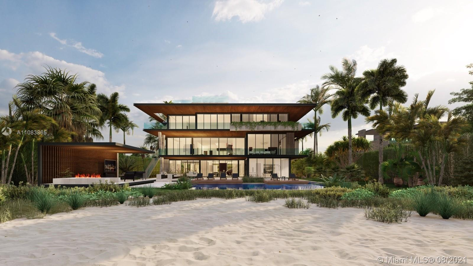 Oceanfront Bliss! Pre Construction Opportunity! Welcome Home to your BRAND NEW Golden Beach oceanfront estate by SDH Studio Architecture + Design and TREO Construction boasting 18,500 sq ft, 9 bedrooms, 12 1/2 bathrooms meticulously designed throughout 3 stories including an oversized sunset rooftop with a hot tub. Offering the ideal 100 ft of oceanfront, on a 28,400sqft lot with the private sands of Golden Beach as your backyard, enjoy the peaceful serenity of the home's outdoor features such as the gazebo, lap pool, summer kitchen, cabana bath and sundeck. Complete guest house with 2 en suite bedrooms. Smart home with Lutron Automation, Movie theater, wine cellar, chef's kitchen/service kitchen,  two gyms, sauna, kids' playroom and many more exclusive features.