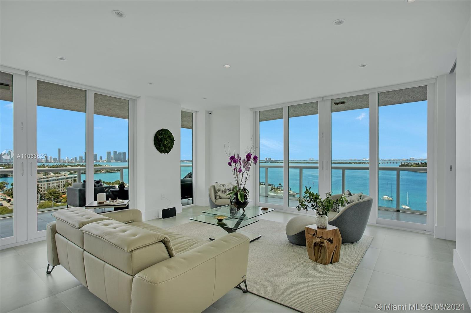 Enjoy sweeping bay & skyline views from your private wraparound balcony (665 sq. ft), & inside, floor to ceiling glass doors that surround this spacious, open-concept gem. Fully renovated, rarely available corner 2/2 at exclusive Grand Venetian w/ state-of-the art appliances and built-ins, imported chef's kitchen replete with Italian cabinetry, Wolf steam & convection ovens, induction stovetop, built-in espresso machine, Sub-Zero fridge & wine fridge. Imported porcelain floors flow seamlessly interior to terrace. Smart home technology wired in-ceiling speakers for Sonos, video monitoring, Lutron remote control blinds, and lighting throughout. Brand new resort-style pool & fitness center, tennis, outdoor kitchen, 24-hour concierge service. Incl. 2 assigned parking spaces & valet.