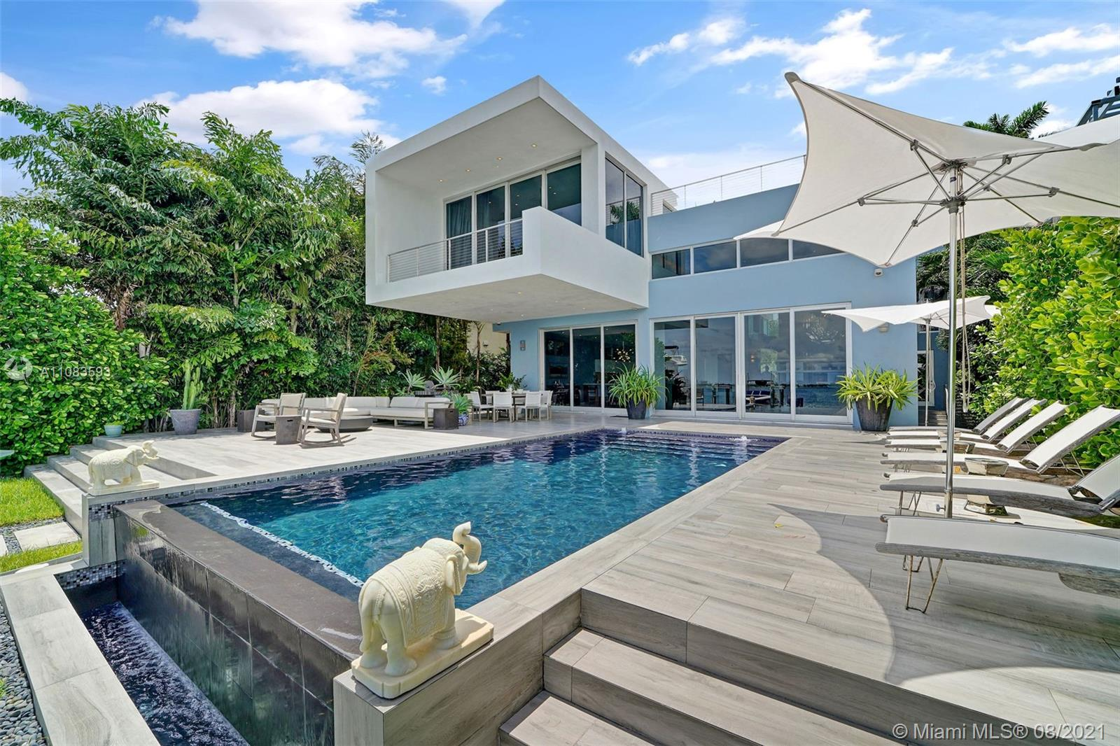 Sleek, Modern, Beautiful Masterpiece in the highly coveted Venetian Islands. Unobstructed, Wide Water Views of Biscayne Bay and Rooftop Deck affording 360 degree views of the Miami Skyline. This open concept home with lux interiors, has 5 bedrooms each with en suite baths. The double height living area with floor to ceiling doors bathe the home in sunlight. The home was designed to blur the lines of indoor/outdoor living. Tasteful terrazzo floors throughout along with smart technology along with an open Italkraft custom kitchen make this home ideal for entertaining. Cruise up to the new dock with new boat lifts on 60ft of water frontage, and enjoy the most beautiful view Miami can provide from your infinity pool. This Venetian home is the epitome of the highly sought after Miami lifestyle.
