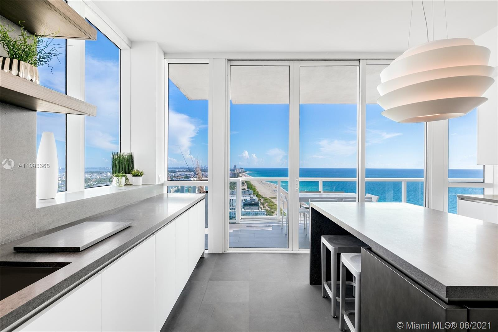 """A picturesque showcase of A-list Miami Beach living, this contemporary trouvaille showcases expansive flow-thru living spaces and breathtaking 270° unobstructed, direct ocean and city views. Luxurious finishes and elegant design flow through the residence, from its stunning private entry foyer and new kitchen to the deeply spacious balconies throughout. This South Beach gem also comes with a highly desirable addition: a split-level, 435-sq.-ft., air-conditioned cabana with a full bathroom, and distinct ocean views from its own 200-sq.-ft. balcony. Just 1 of 14 made, the cabana is a tasteful extension perfectly suited for guests and makes this trophy residence perfect for the discerning owner who is searching for that certain """"Je ne sais quoi"""" that simply cannot be replicated."""