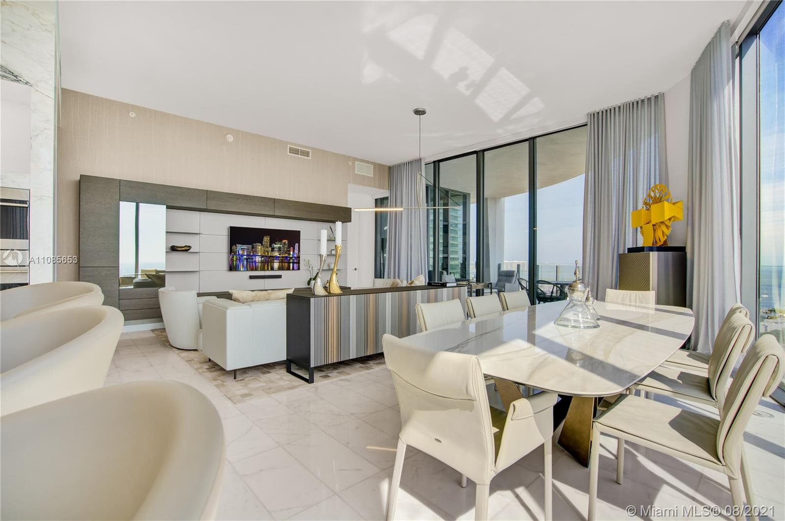 The most coveted line in Park Grove, this corner, high-floor residence boasts formidable bay and city views. Keyed elevator opens to private foyer that leads to a spacious, layout with 12 ft glass walls, separate service entrance, marble flooring, built-in closets, bayfront kitchen with marble counters, Wolf gas range plus Sub-zero and Wolf appliances, pantry and laundry room. A secondary kitchen can be converted to den, media room or entertainment lounge (refer to renderings). A crown jewel designed by Rem Koolhaas with world class amenities including bayfront pool, spa, sauna, wellness lounge with treatment rooms, wine room and more occupying over 5 acres of Enzo Enea grounds. Also available for sale at $4,850,000.