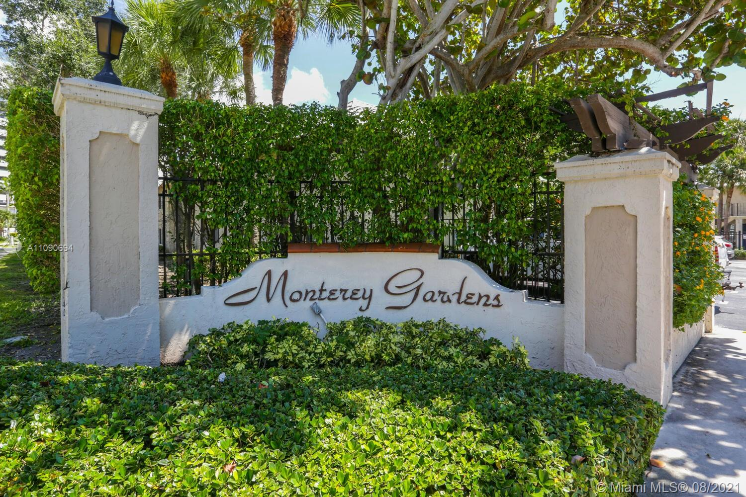 Recently renovated unit using neutral and tasteful finishes and appointments, located within Monterey Gardens of Pinecrest, one of the area's best kept secrets.  Central located, this community offers a Melrose Place type of ambiance, quaint and manicured.  The renovations included a new kitchen, flooring, bathrooms, moldings, new air condition unit, and the sought after washer and dryer in the unit and top of the line fixtures and appliances.  It is bright, airy and surprisingly spacious.  This will not last.