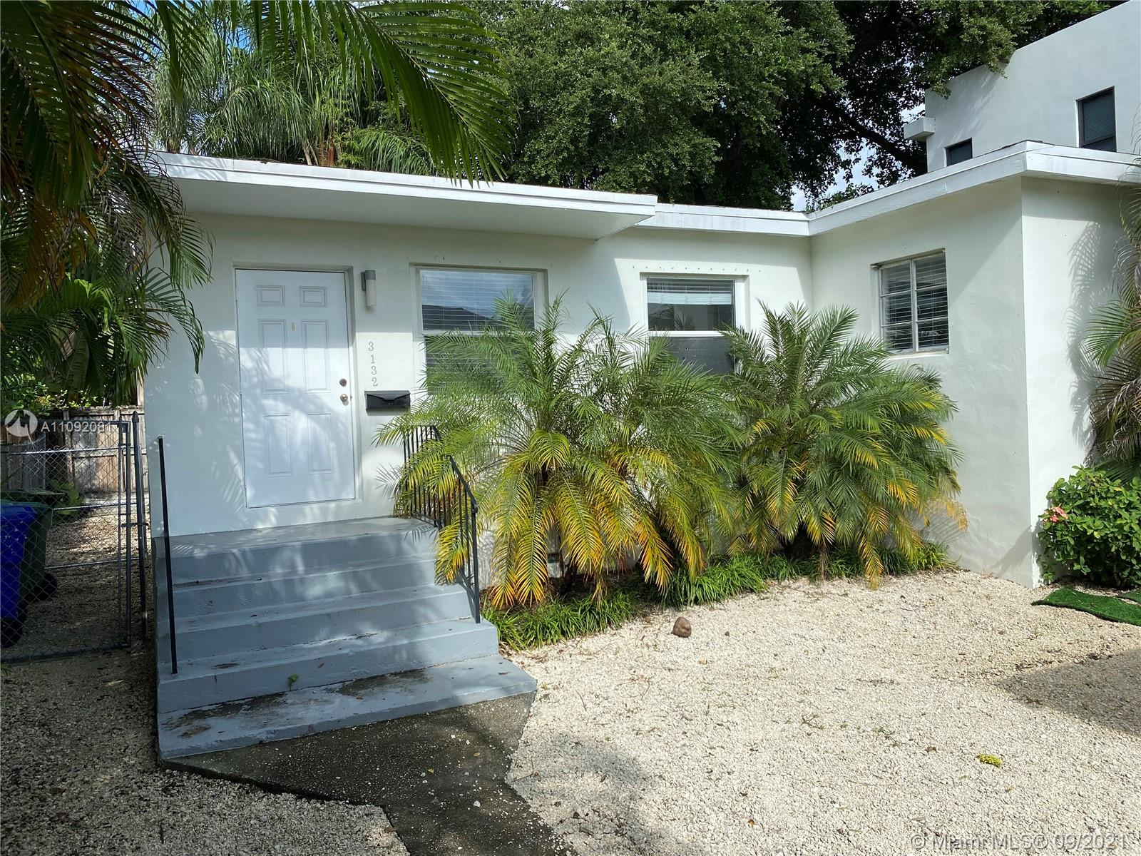 Charming Grove bungalow in Center West Grove. 2/1 with a nice fenced yard. Property has 2 structures on Duplex lot. You are in your own freestanding unit with a private yard. Wood floors with recently updated kitchen and bath. Location is close to everything the Coconut Grove area has to offer.