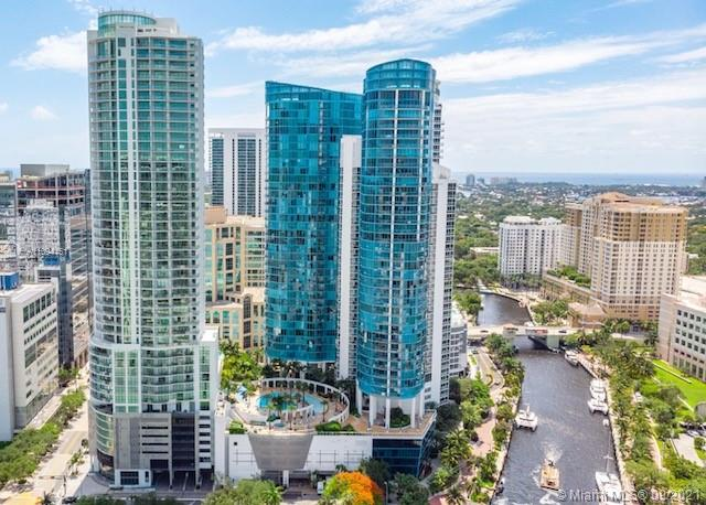 Nicely furnished & finished 1/1 with direct New River and Riverwalk views in Las Olas River House, Fort Lauderdale's landmark tower in the heart of downtown. Open floor plan, over sized master bath, 2 spacious closets, large riverfront balcony make this a very special condo. Walk to all restaurants on famous Las Olas Blvd, art galleries & various entertainment options. Dynamic urban lifestyle at its finest! Building offers world class fitness center & tropical pool deck. New Greenwise Grocery Market & Eddie V's top tier dining literally right outside the front doors. New 4M lobby & elevator renovation well under way. Rent includes Direct TV, hot water & highspeed Internet. May be leased for a shorter time period at an increase rental amount. Call today! Great South facing river views!!