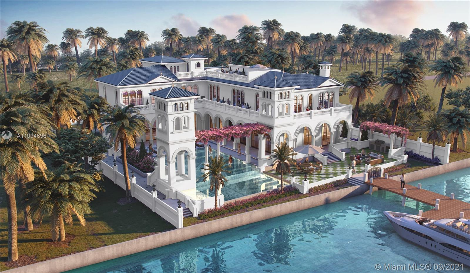 Designed by award-winning designer and builder Andrea D'Alessio. This 11,000± sq. ft. mansion with 10 beds/14 baths, is situated on an oversized 22,000± square foot lot. 125± linear feet of water frontage with new seawall and yacht-accommodating dock. 12-foot ceilings throughout with elevator access to a roof top deck and portico. Custom interior finishes include (1) imported Italian marble floors; (2) hand-crafted solid wood cabinets imported from Milan, Italy; (3) a spacious home gym; (4) a state-of-the-art media room; and (5) a Crestron home automation system (6) 3-car garage (7) 2 bed/2 bath guesthouse. Completion Date: 11/23/2021