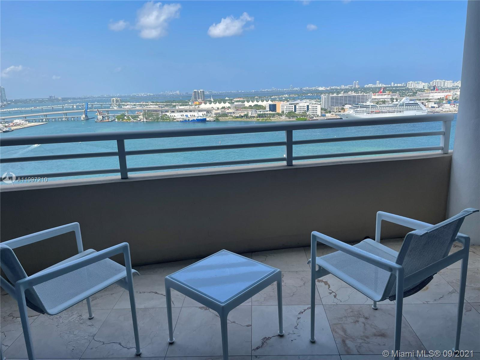 """STUNNING BAY AND CITY VIEWS FROM THIS 22ND FLOOR APARTMENT. """"02"""" LINE RARELY ON THE MARKET.  MARBLE FLOORS THOUGHOUT. SECOND BEDROOM CAN BE CONVERTED INTO A DEN OR OFFICE.  LIVING, KITCHEN, AND MASTER WITH ACCESS TO THE TERRACE.    WHITE GLOVE BUILDING WITH WONDERFUL AMMENITIES"""
