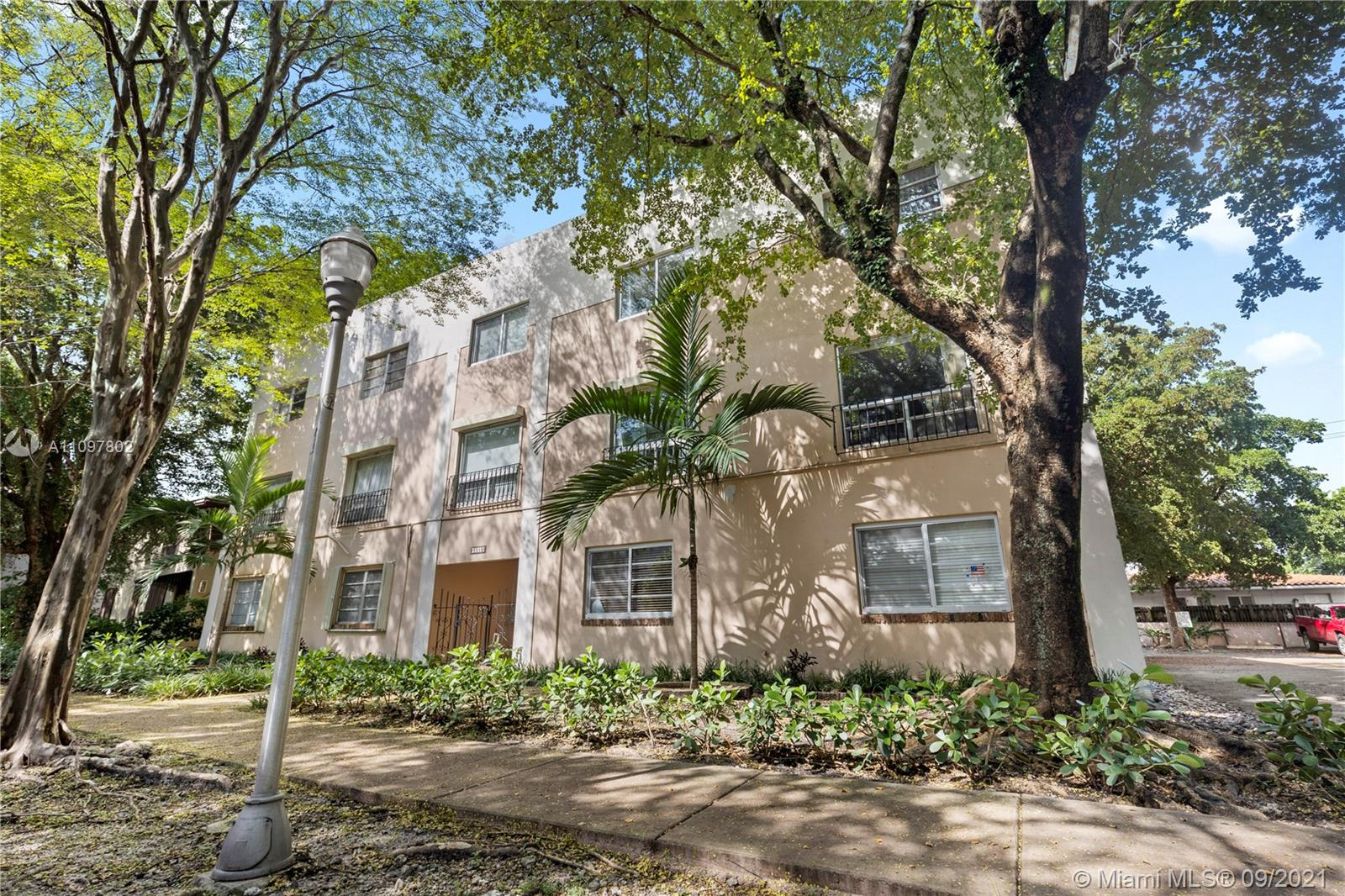Centrally located, updated, 2 bedroom unit in the heart of Coral Gables. Two-Story townhouse style condo with updated kitchen, living room and half bathroom on first floor. Upstairs has 2 large bedrooms, an updated bathroom and washer/dryer.  Enjoy your coffee from your balcony overlooking the treelined streets. One assigned parking space and plenty of guest parking. Blocks from Downtown Coral Gables. Low monthly dues. Currently rented month to month.