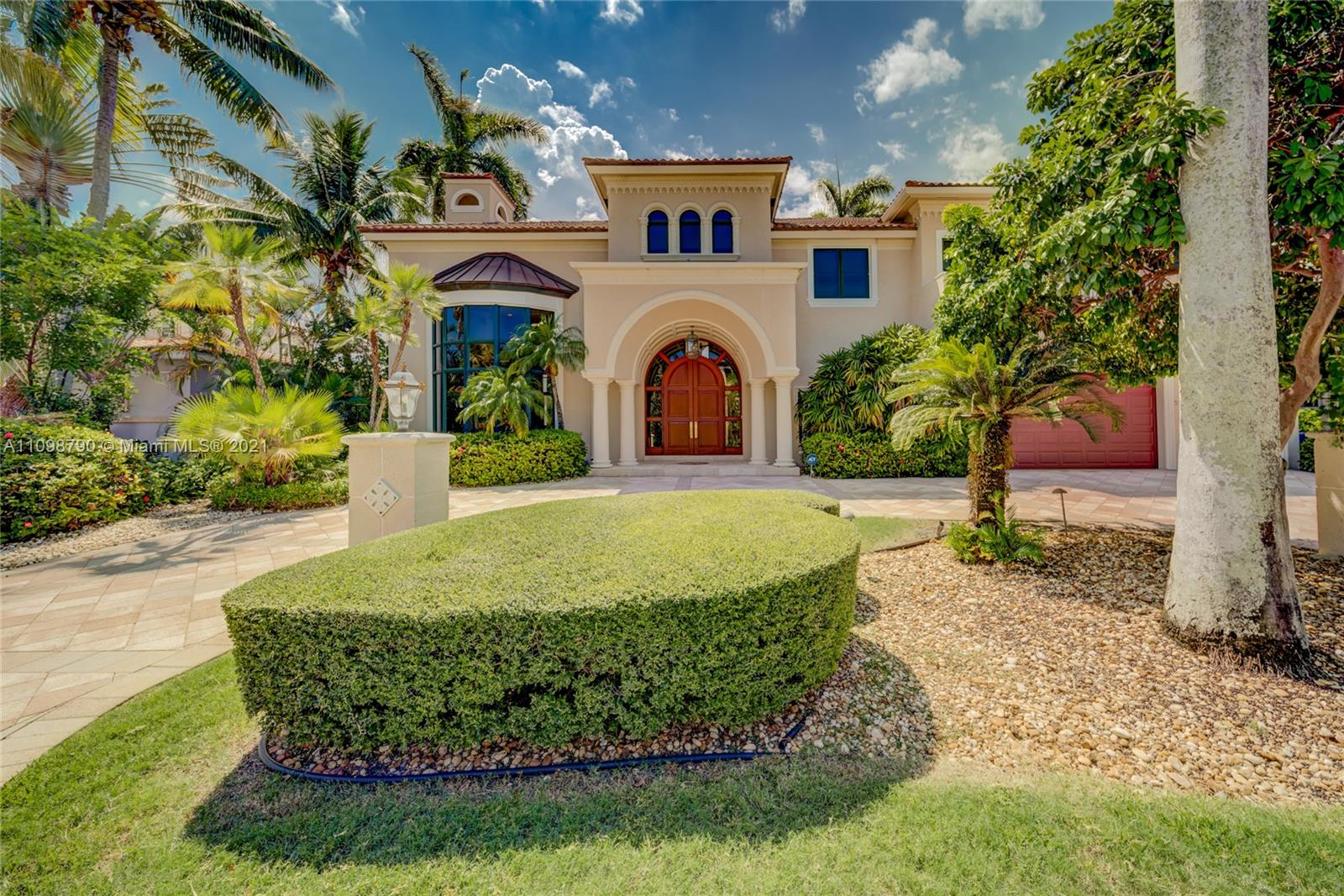 Magnificent estate in prestigious Coral Isles neighborhood in Fort Lauderdale. 100' of deep water frontage with no fixed bridges to the ocean. Immaculately maintained turn-key property. Opulent entrance to 25' ceilings, chef's kitchen, 5 oversized bedrooms including an enormous second-floor master suite with oversized terrace facing the waterway. 5th bedroom is currently converted to a breakfast area and can easily be converted back to a bedroom. A boater's dream home. Bring your most discerning buyers. A must-see. Full 3D video and Virtual videos are available. See links.