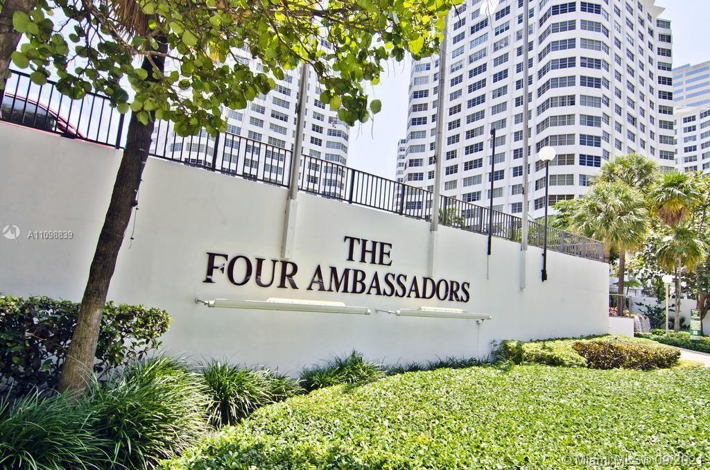 Four Ambassadors Condo / Located in the heart of Brickell / Studio, 1 Bath / 580 sq. ft. of living area / Open Layout / Wonderful view of the city / Building features 2 Pools, 2 Jacuzzis, Gym, Lobby with Restaurants, Hair Salon and more. Near Brickell City Center.