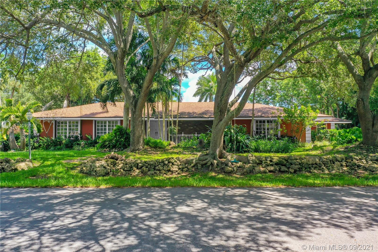 One-of-a-kind neighborhood in the best area in Palmetto Bay, adjacent to the Nature Preserve, walking distance to Chinese Bridge-Deering Estate.  Magnificent large old oak trees in the front-rear of the property. 5 bed/3 bath open floor plan (appraisal livable sq.ft: 3,467) with incredible master suite on one side - 4 spacious bedrooms on the other end. All the bedrooms have a view of the pool patio. Entry leads to huge living/dining/family room and kitchen with lots of natural light.  Master suite has French doors leading to pool/patio, terrific area for a mini-office, an enormous bathroom with walk-in shower, double sinks, deep bathtub, enclosed toilet/bidet. New roof in 2015, new A/C in 2020.  This home needs updating but has lots to offer and new owners can modify with their own style.
