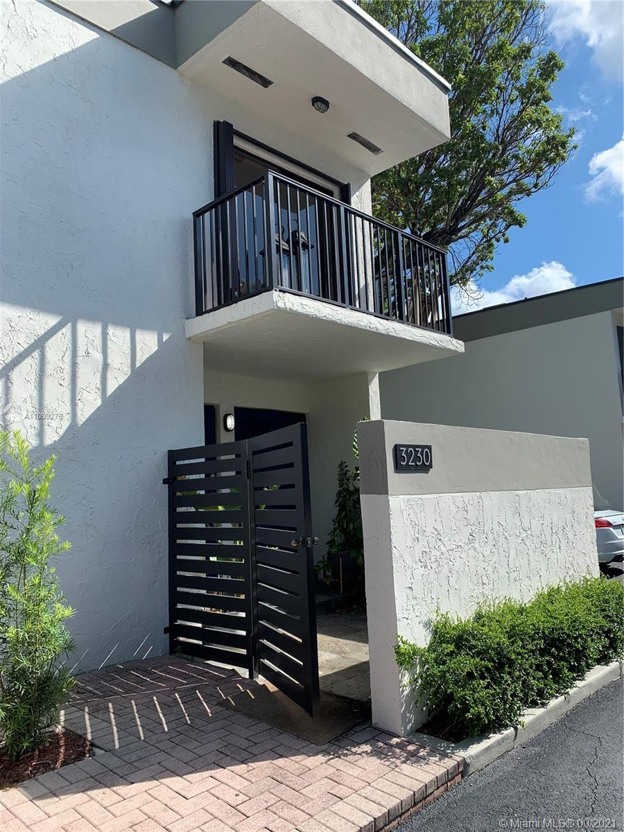 Fully updated 2/2.5 townhome with a patio and come with one designated parking. Townhome is in the heart of the grove. Building also renovated and beautiful. Walk to shops. Across the street from Milans, home home depot  and close to everything. Excellent location. Hurry it won't last Entrance is on bird Road...Entire complex was fully renovated last year. NO PETS PER ASSOCIATION. 24 hour request to show.  Available Oct 26, 2021.