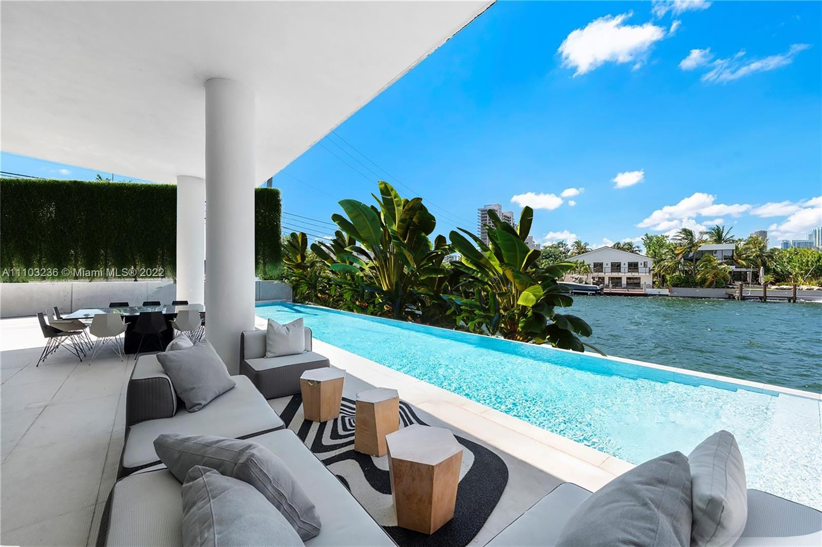 Tropical Modern 8,871 SF estate on the wonderful Venetian Islands will certainly impress upon arrival.  The sun drenched mansion boasts triple exposures from the tip of San Marco Island. Striking Downtown Miami Skyline views and sunsets to the west, cruise ships alley to the south and Edgewater skyline to the north.  An impressive spiral staircase, reminiscent of the Guggenheim Museum, graces the home as a sculptural work of art.  Beautiful Scandinavian interior design features wide plank wood floors, Baltic Grey Marble and Carrara Marble diamond patterns adorn the wonderful social rooms, and an enormous open concept kitchen all with water views.The grand suite features a flow-through fireplace, gym, full spa with  steam/sauna, waterfall jacuzzi and meditation room. Live the ultimate life.