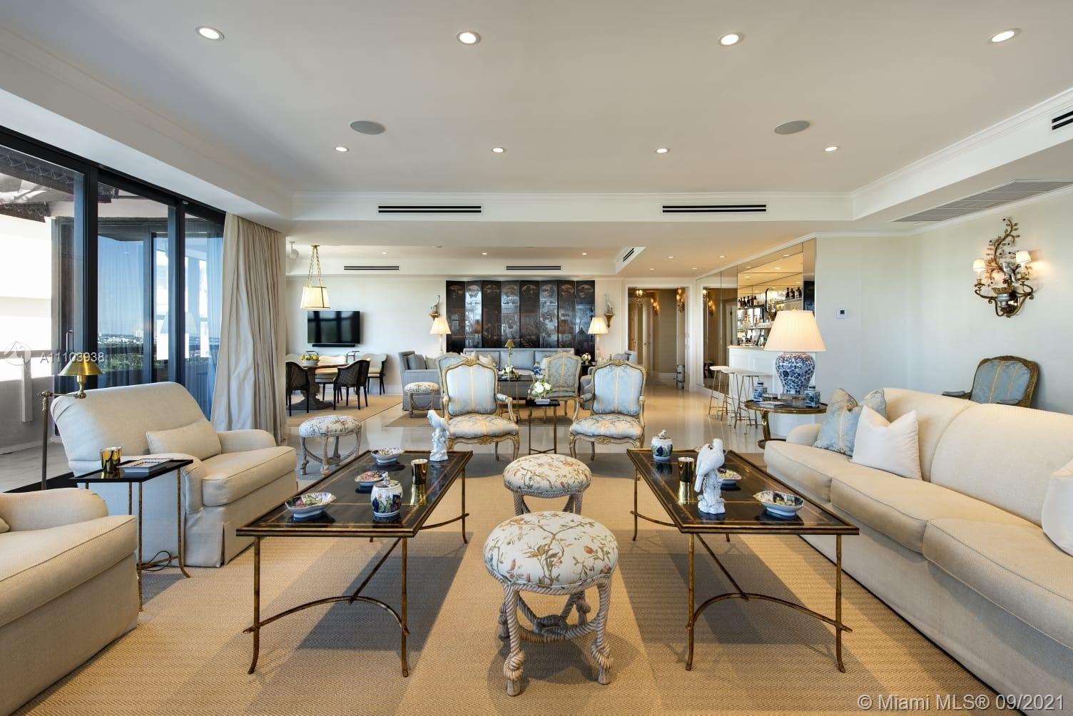 """This exquisite two-story, five bedroom penthouse apartment with almost 7,300 square feet of living space offers exemplary panoramic views of the ocean and city. Completly renovated with state of the art appliances, the unit include all furniture and art, This unique apartment was decorated by a renown interior designer.  The unit offers private gym, private elevator, sauna, massage room and several service kitchens along a massive terrace facing the Ocean. The price includes next door uint 2/2 PH 2. This residences lie on """"Millionare's Row"""" as part of the Alexander Hotel Condominium Residence offers unsurpassed security and privacy, valet parking, two heated swimming pools, hot tub, fitness center with sauna and steam, two restaurants and Shabbat elevator. This unit is one of a kind"""