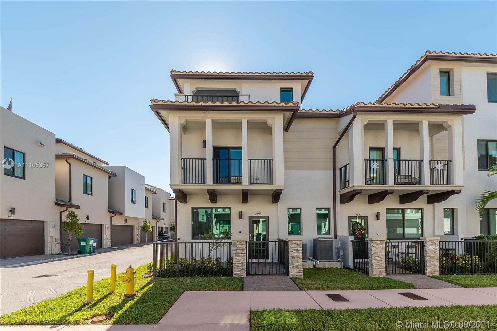 Tastefully decorated new construction 3 level townhome in Downtown Doral! Impeccable corner unit with high end finishes and upgrades throughout. Open layout with kitchen, living room and half bath for visitors on first floor. Three spacious bedrooms with two full bathrooms on second floor and ample den / office or media room with another half bath and two open terraces on third floor. California closets on all bedrooms and high end fixtures. Impact windows and doors. Two covered garage spaces with plenty of free parking around. Total monthly HOA and Clubhouse expense is $224! Spectacular community pool, gym and clubhouse! Walking distance to restaurants, bars and stores on Downtown Doral… Property is rented until February 2022.