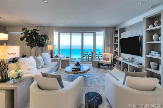 A true Penthouse at the luxurious 1 Hotel & Homes South Beach. All rooms are located on the top 17th floor, the highest floor that overlooks all other condos in the building. No one above looking down affording maximum privacy on this Penthouse's multiple balconies. All rooms with panoramic direct ocean views through large floor-to-ceiling windows. Gracious 4 bed/4.5 bath layout with large beautiful master and junior master suites, magnificently furnished by Brazilian designer Debora Aguiar with custom lighting & bathroom enclosures and exquisite Glassos large floor tiles throughout. Experience luxury hotel living with extravagant 5-star white glove services, personal concierge, chauffeured Teslas, 14,000 sqft gym, Bamford Haybarn Spa – a truly opulent Miami Beach Oasis.