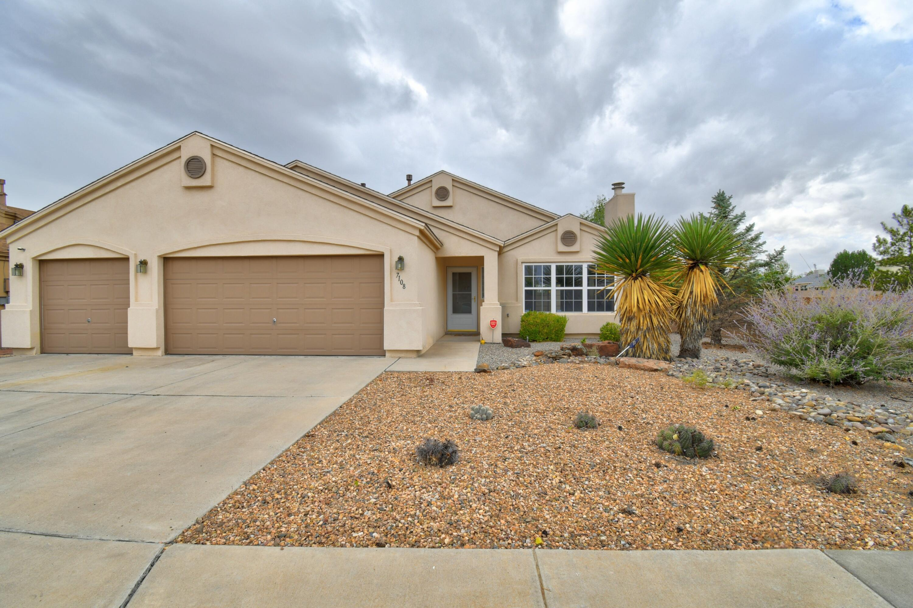 Fantastic single story Raylee home with 3 bedrooms, 2 full baths and an incredibly spacious 3 car garage. Open & bright floor plan great for entertaining. Cathedral ceilings. Arched openings. Gracious living area with ceiling fan & custom tile surround fireplace. Bose surround sound system and speakers included! Kitchen is very spacious with island, dining area and plenty of cabinet space. Sliding doors lead to oversized covered patio perfect for BBQs and enjoying the outdoors.
