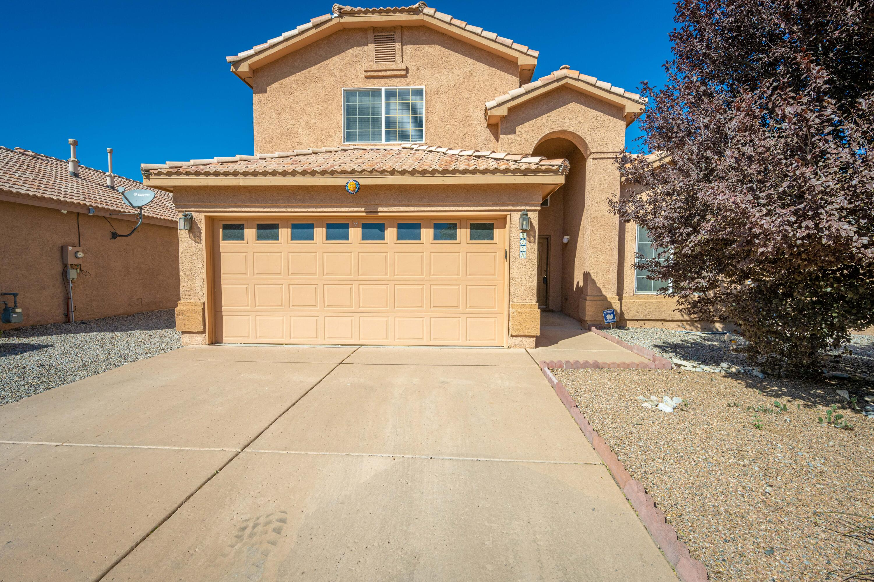 Beautiful home in the desirable Encanto Village, a private gated community in the SW part of Albuquerque is now for sale. The moment you walk-in, you notice the tall ceilings, spacious living room with fireplace, kitchen with an open feel to the living room that comes with a cute breakfast nook, lots of cabinet/countertop space and perfect while cooking and entertaining your guests for the holiday season. Master bedroom is located downstairs with a jetted garden tub, walk-in closet, 1/2 bathroom downstairs for guests, separate washer and dryer room along with ample storage space under stairway. Take a look upstairs where you can enjoy the large 2nd living space with open view to downstairs, all additional bedrooms upstairs with full bathroom to share. Home comes with