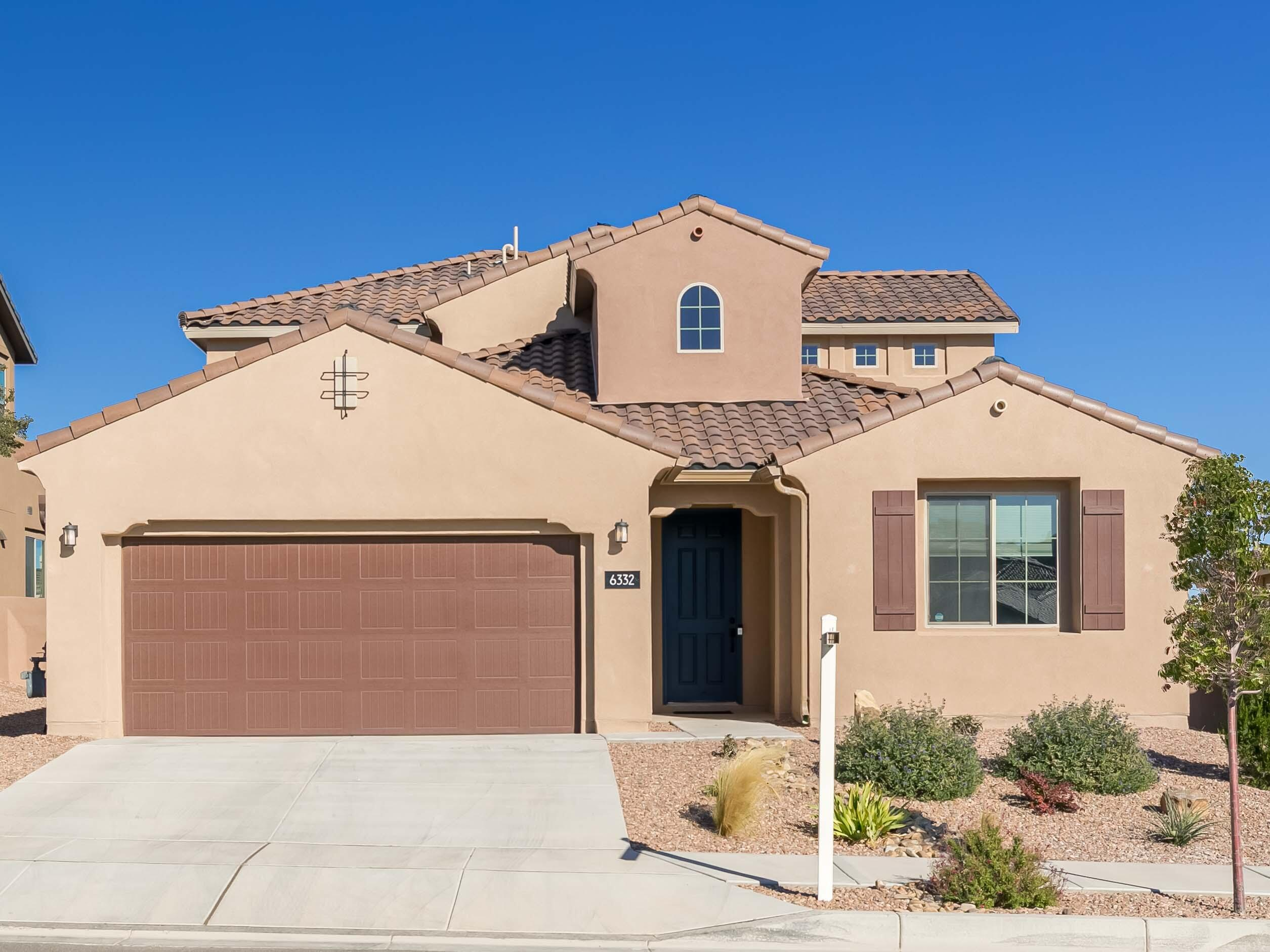 This beautiful like new home, open floorplan has been very well cared for over the last 2 years. It is the Carissa model by Pulte Homes in a gated community with two masters, one up and the other down. 360 degree views from the upper balcony. The kitchen has a large island, granite counters, high-grade kitchen cabinets and decorative tile backsplash, stainless steel appliances. Build Green New Mexico for exceptional energy efficiency and comfort with refrigerated air, Lennox furnaces and a tank-less hot water heater for extra savings. Situated next door to the Community Center that has indoor and outdoor pools, a large gym, yoga room, cafe and a large park. This home and fully planned community offer a desirable quality of life for its residents. Come see the peacefulness for yourself.