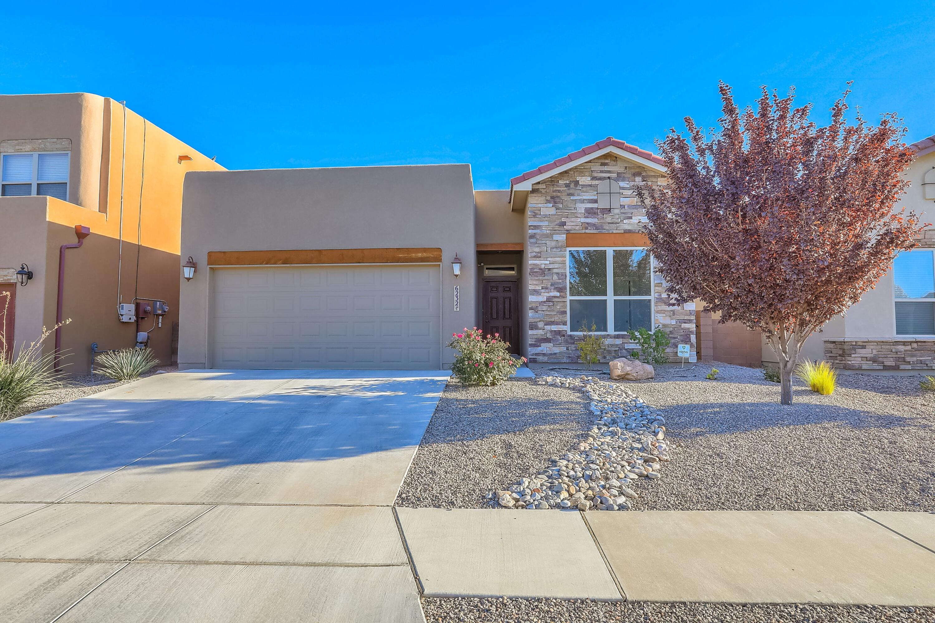 Beautifully finished one story, refrigerated air home with fully landscaped yard. Large, open entertaining kitchen to great room with high ceilings and gas log fireplace. Home has 4 bedrooms-one making a great office for working at home. New upgraded luxury vinyl flooring in home. Newer paint. Fruit trees-plum and nectarine planted strategically to provide the right shade. Raised back wall. Tankless hot water heater. Oversized 2 car garage with great storage. Owned solar panels 2019. Save on PNM utilities.Don't miss this wonderful ONE STORY Home.