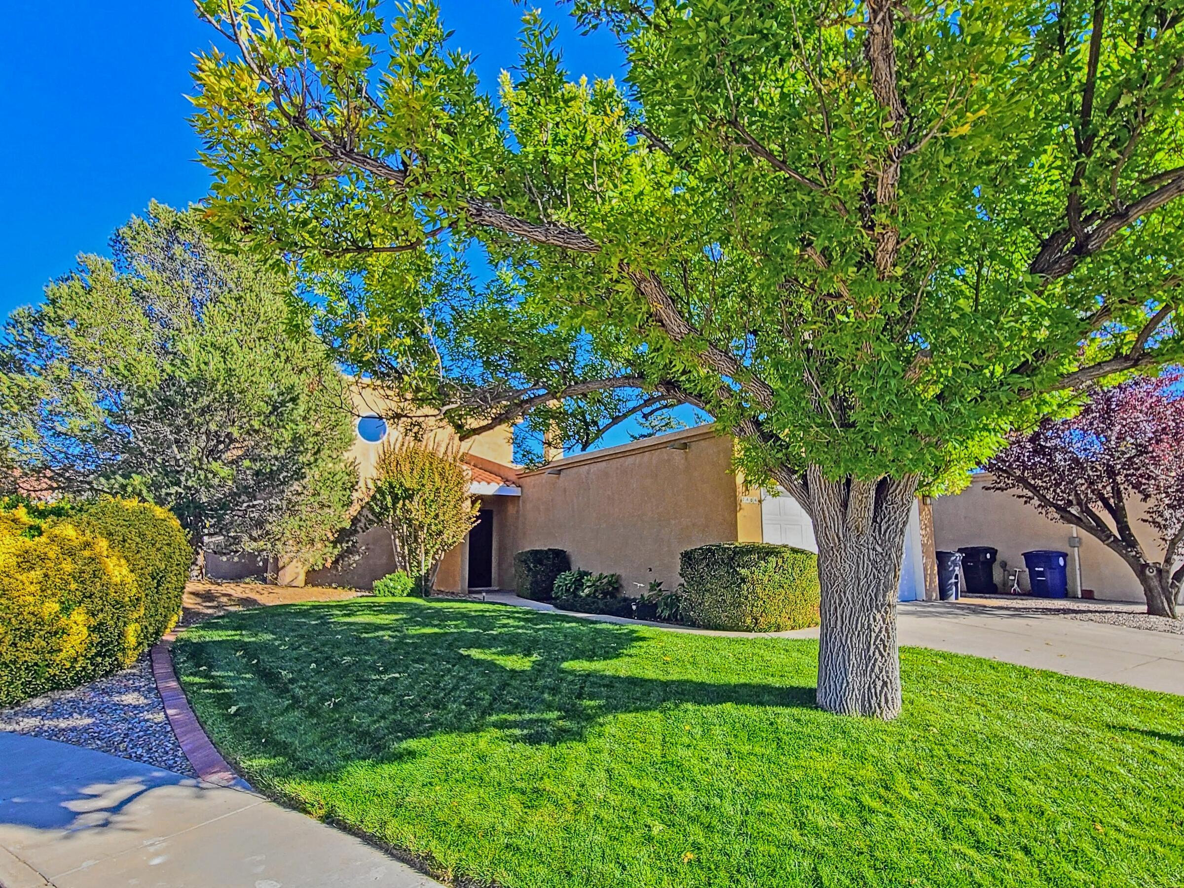 TRUE custom design & custom built home in one of ABQ's most popular neighborhoods,  HERITAGE EAST, is available for the first time EVER! Tucked away from traffic and busy streets, this home is located on a premium cul-de-sac lot that is remarkably spacious & beautifully landscaped w/outdoor living area, redwood deck, lush lawn, mature trees & garden area.  Step inside and the cozy great room is the heart of the home,, with soaring T&G ceilings, Kiva FP & wet bar. 1st Floor Owner's Suite with HUGE master bath w/dbl sink vanity, oversized jetted spa tub, sep shower & lrg w/I closet! Generous Storage, Hurd Windows, Newer Roof, Newer Master Cool, Recently Upgraded SS appliances incl dbl oven, top notch fridge and Bosch micro. Solid wood doors, cletestory windows, skylights, custom millwork, ++