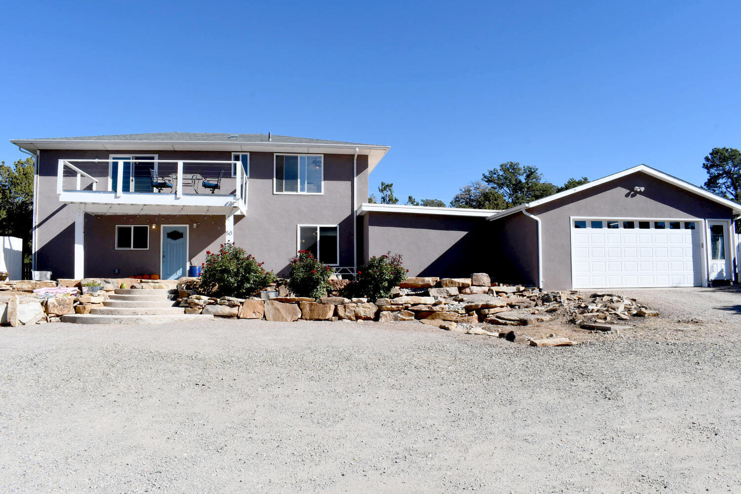 Come see this beautiful home that sits on 2.25 acres alongside the mountains in Cedar Crest. This home has stunning views all around. Inside you have 2,819 sq ft with 4 bedrooms and 3 baths, The master suite comes with a deck where you can catch more views of the Sandia's looking towards the west. The kitchen boasts beautiful cabinetry and granite countertops, this home has tons of room with 2 living areas and a loft upstairs. You will also have an oversized laundry/utility room and a detached 4 car garage in the back. This home has new stucco and new shingles and a new TPO section.