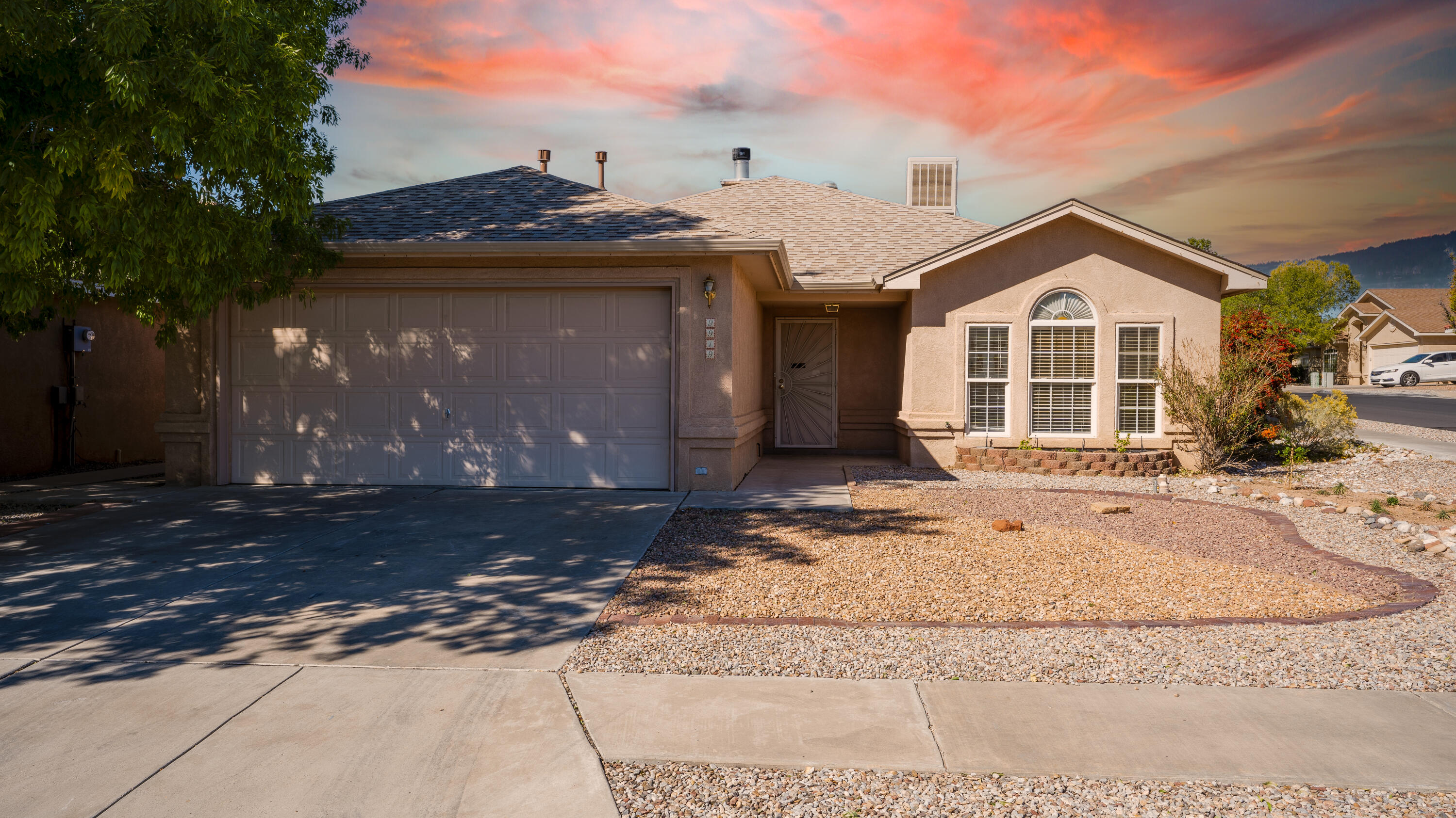This is your opportunity to live in this great Ventana Ranch location close to parks. I love this single-story home on a corner lot with covered Patio, a shed and a fruit tree. Split Floorplan, living room has two-way fireplace open to kitchen and dining, High Ceilings, plant shelves, and blinds. Primary bedroom has large shower, exterior doors, walk in closet. Roof and evaporative cooler are newer. Needs interior paint, have quote for $2500.00 for one color walls and ceiling similar to home and white for the trim/base boards.