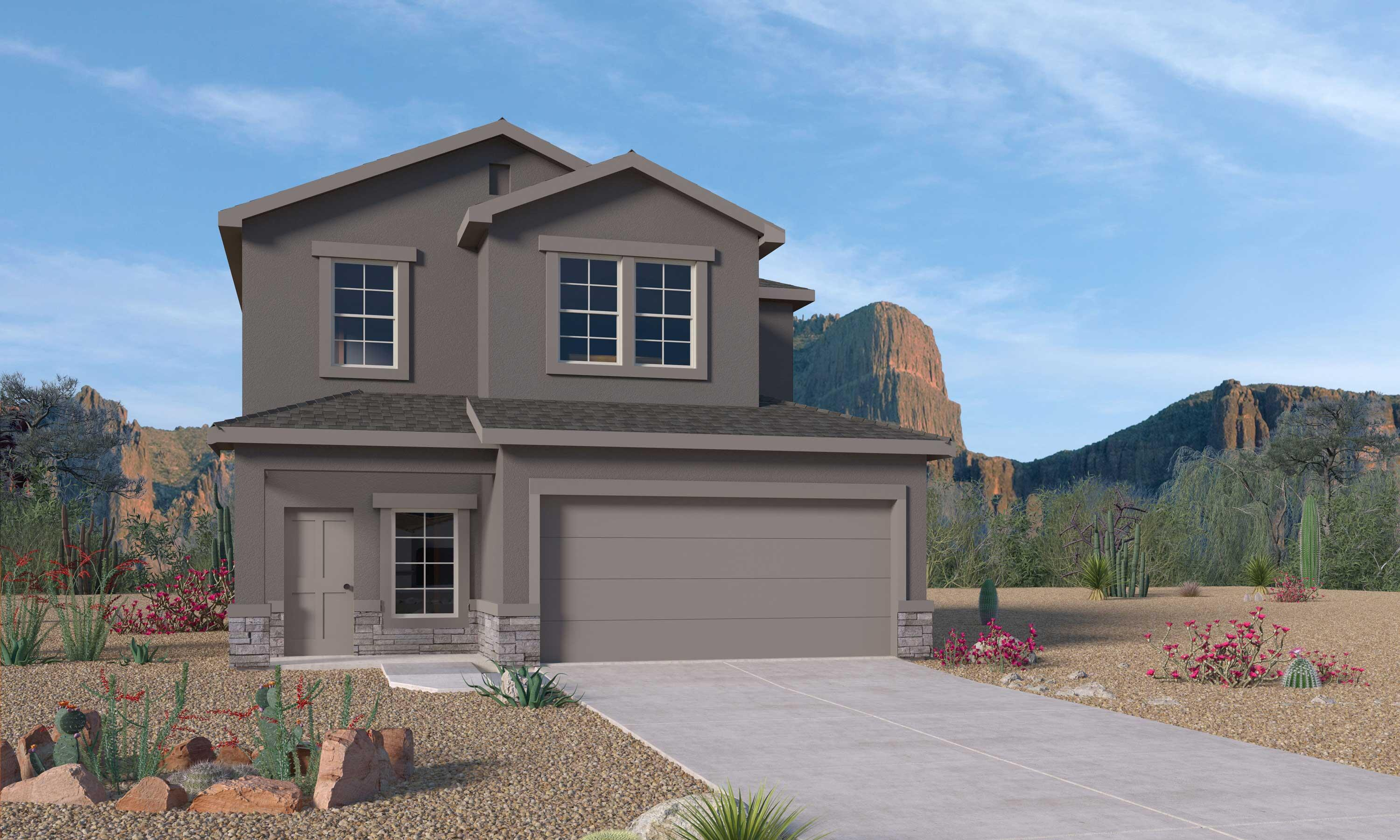 Our new Mountain Hawk community has eight brand new floorplans that reflect how families live today. Open concepts for entertaining as well as energy efficient features that will keep your utilities low and your comfort high. The Savannah plan is a two story with owner suite down stairs. This home is across the street from a grass lined park and also has incredible view of the Jemez from the living room and primary bedroom. Upstairs you will find a spacious loft and three bedrooms. This home also has features like granite countertops with tile backsplash in the kitchen as well as tile flooring in the wet areas. I know you expect to pay extra for features like this but they are included at Mountain Hawk. Pictures are of decorated model home of same plan. Colors and options may differ