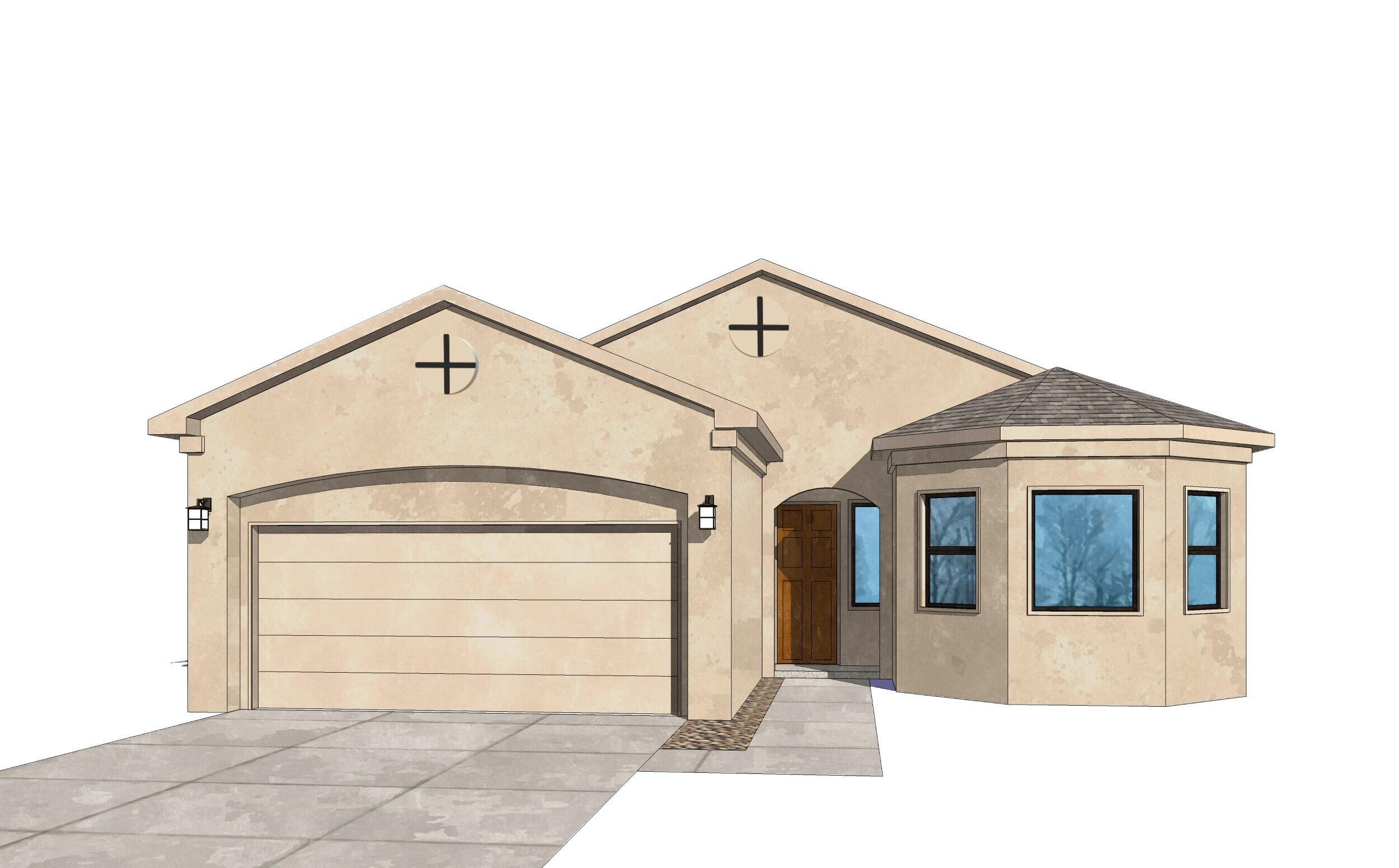 Pics are of model.Actual selections and colors vary. This home will be starting soon in Volterra. Now is the time to lock in your low interest rate, price and make your own selections on carpet, tile, paint, stucco and granite! Then sit back and watch your dream home emerge. A beautiful bay window sets off the front of this home bringing light and style to the dining area. Enjoy relaxing in front of your fireplace in the living room with large glass sliders that open to a spacious covered back patio. Large closets, beautiful appliances and spacious, open living spaces make this a great home for families, couples and singles. The NM Certified Silver energy rating and Samsung Energy efficient appliances are just a few of the many attractive features in this home that you won't want to miss.