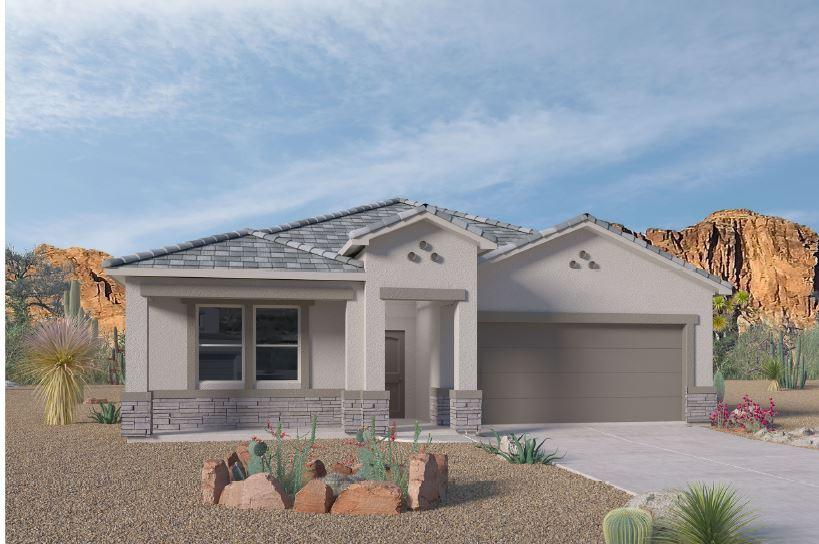 A beautiful NEW home in the VOLTERRA IV Community, this community has so much to offer in SE ABQ! This NEVER LIVED in home is our newly designed ''JORDYN'' incredible 1-story with an open bright kitchen/dining room area, along with GRANITE counter tops (Standard). This 4 bedroom has the split design has the master bedroom separate from the secondary bedrooms. The fourth bedroom is also separate, for the perfect office, nursery or game room. You'll love the kitchen island, with plenty of space for stools. The kitchen also features a corner pantry and looks out over the spacious great room and dining area. The master suite includes a walk-in closet. The covered patio is a great place to entertain your guests or just relax in your backyard. Close to LABS, Kirkland, & I-40!