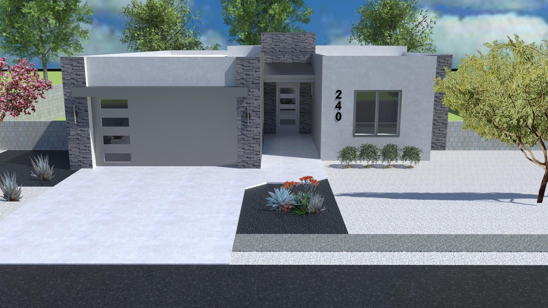 Beautiful new contemporary custom home planned for the brand new Valle Encantado gated community!  Three spacious bedrooms with 2 bathrooms and a 2 car garage.  10' ceilings in main living area and 9' through the rest of the home.  Living room is highlighted by a gorgeous fireplace with custom stone work.  Tile planned throughout the home.  Custom cabinets with quartz countertops also planned.  Home has not been built yet!   New owner can still select finishes! Images are drawings meant to represent the final product but actual final product may be slightly different than portrayed here.11 lots are available in the custom-home gated community!  Bring your own builder or use ours!