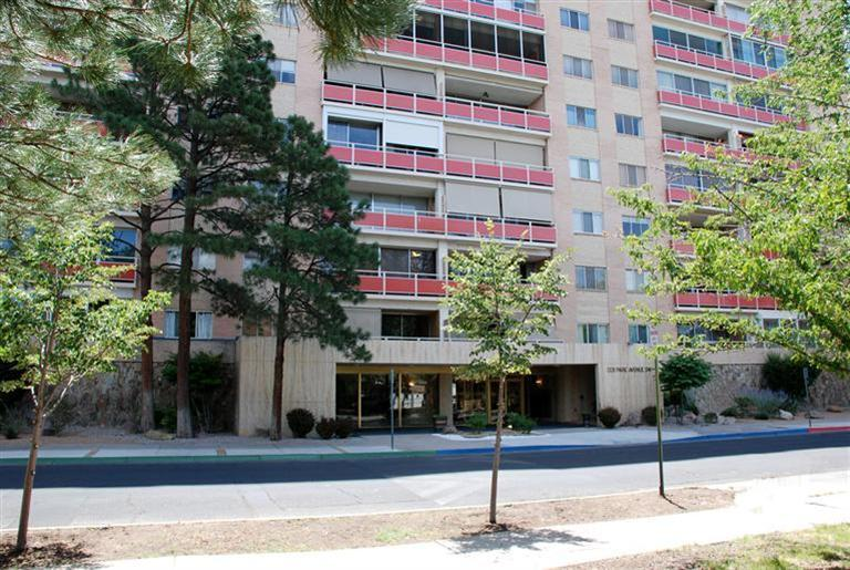 Lower level, west facing unit in FABULOUS Park Plaza!  Full balcony gives plenty of additional outdoor living/entertaining space to enjoy the fabulous trees and fresh air! Recent newer appliances in kitchen.  So many amenities included in the $466/mo. HOA fee.  24-hour courtesy monitoring, community social events, hospitality room, additional storage cubicle, secure parking, bike racks,basic cable, ALL utilities, fully equipped 24-hr. fitness center, heated outdoor pool! Situated on the cusp of the ACC neighborhood, there is easy access to parks, shopping, restaurants, downtown night life, Albuquerque BioPark all just minutes away!  Come experience the uniquely private lifestyle that IS Park Plaza!