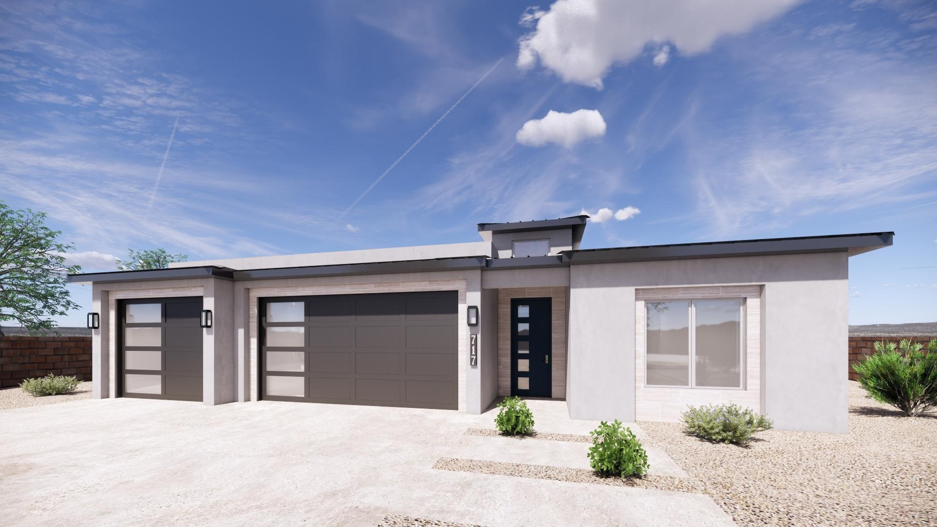 Your New Rio Rancho modern contemporary home is under construction! This home features 3 bedrooms, 2 bathrooms, and a 3 car garage on a half acre ready for your backyard creation. Luxury vinyl flooring throughout, with a gourmet chen you will be anxious to cook in! From the black countertops to the grey cabinets, all pulled together with stainless steel appliances and eye catching backsplash this kitchen is the modern feature that makes this home stand out. Call today to walk this home and see the finishes before its too late!