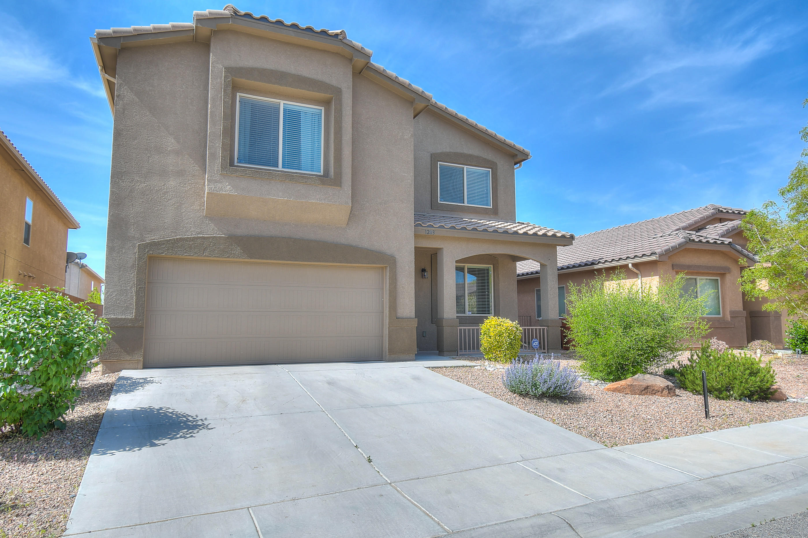 Welcome Home to this beautiful DR Horton home in Estancia at Santiago. This home features 2,667 sq. ft w/3 Bedrooms, 2.5 baths, and a 2-car garage. This home has plenty of room for your family with 2 Living Areas and a oversized Loft upstairs. Kitchen features maple cabinets, tile backsplash, large island and pantry as well as stainless steel appliances. Home features upgraded tile floor throughout the lower level and all wet areas upstairs. Giant Master Bedroom which leads to a large walk-in closet and master bath with soaking tub, separate shower and double sinks. Retreat to this welcoming fully landscaped backyard with covered patio. Great location close to shopping, dining and easy access to I-25 for a quick drive into Albuquerque or Santa Fe