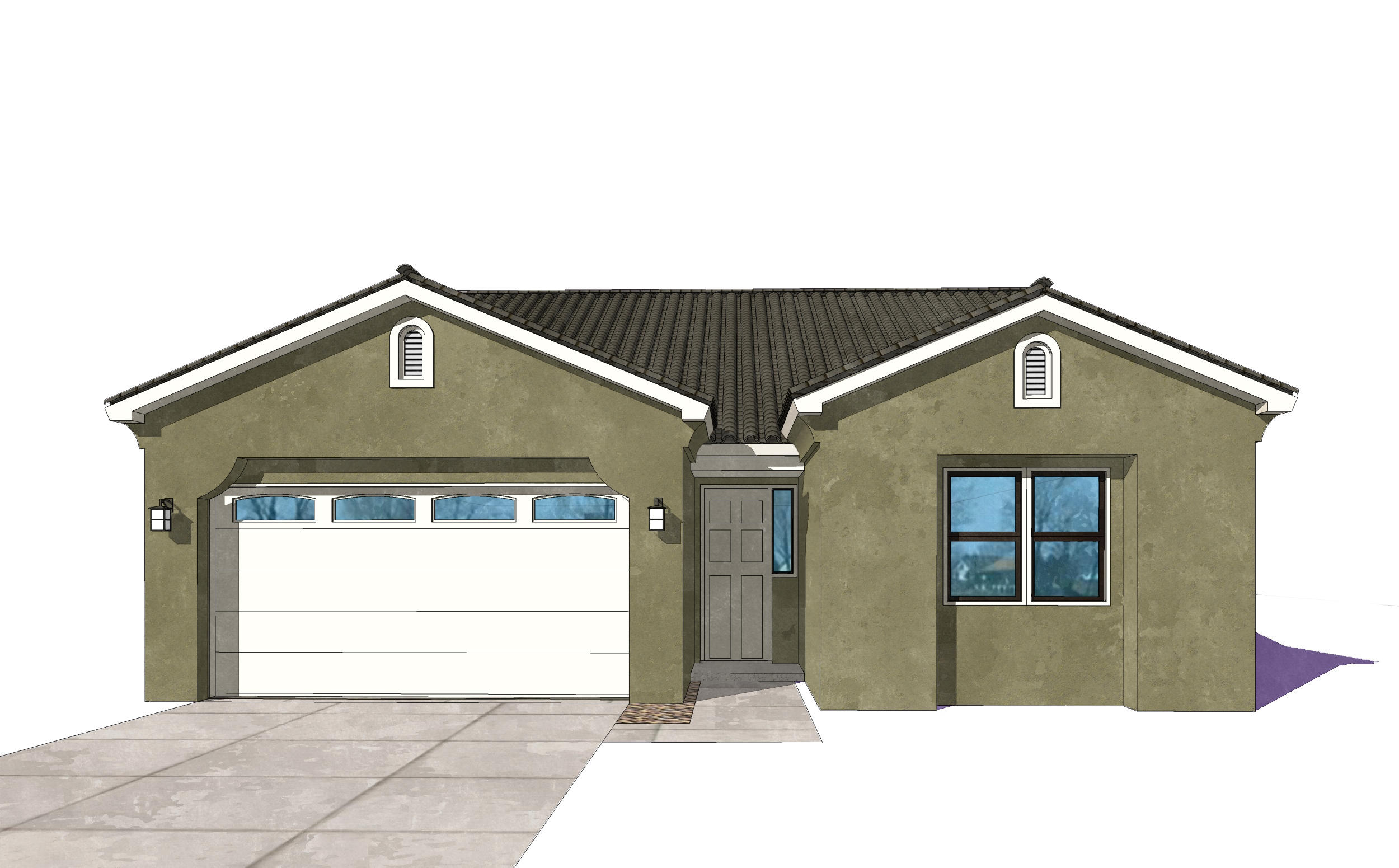 UNDER CONSTRUCTION.Pictures are model representations. Colors and selections may vary. Beautiful home will be ready for Sep move in. Living area features double sliders opening to covered patio with gas FP. Granite in Kitchen & baths, ceramic tile surrounds in shower and bath, Samsung SS appliances including gas stove, microwave, SxS refrigerator, dishwasher and washer and dryer (in white). Blinds throughout, 10' ceilings, coffered in living and master, ceramic tile floors in entry, kitchen, baths, and laundry room as well as dining area. 8' tall oversized garage door with door opener included, recessed LED disc lighting. Energy efficient NM Silver rated with LowE, vinyl dual pane windows. Dual wall and rain head shower heads in master. Don't miss this!