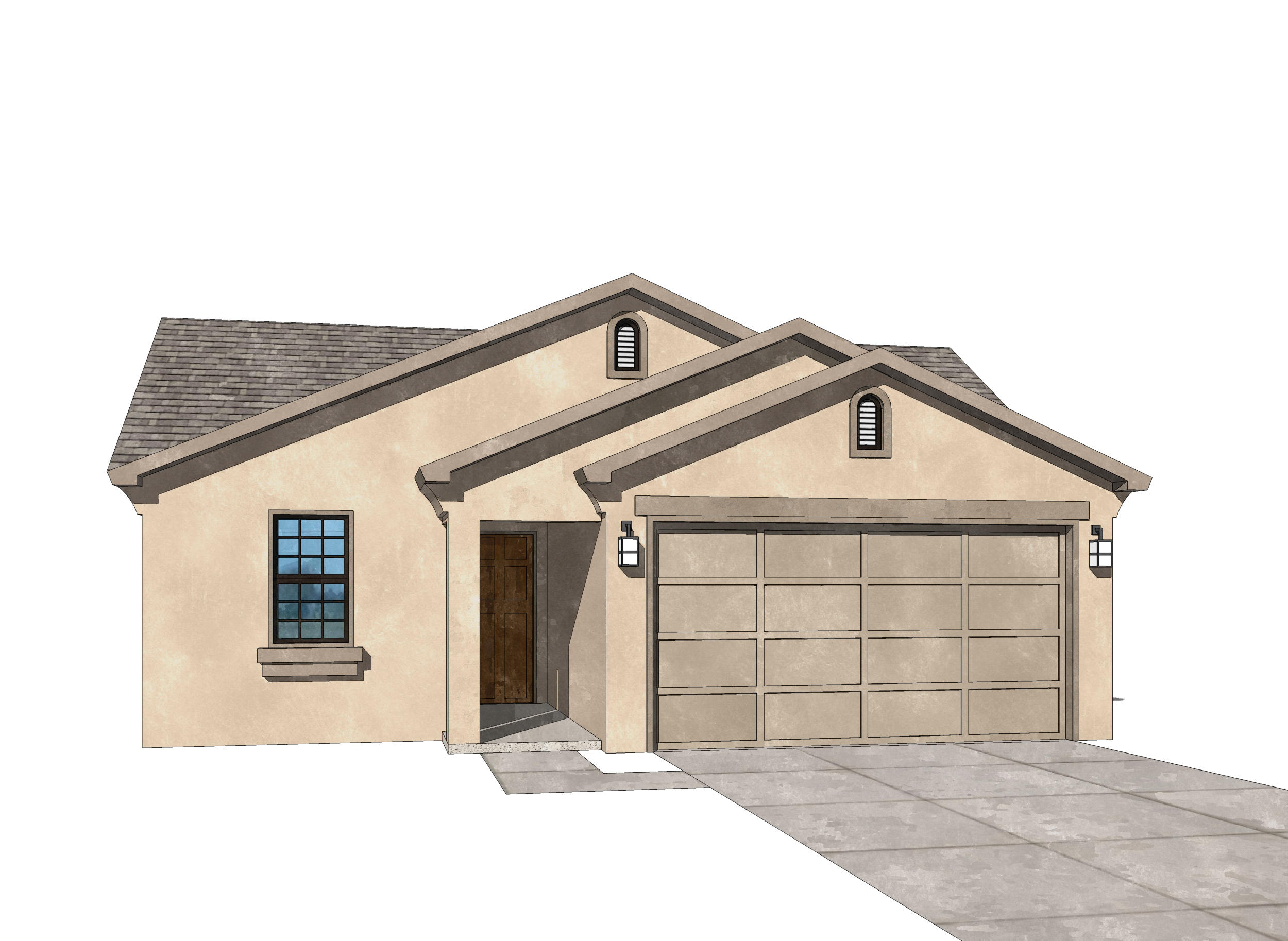 UNDER CONSTUCTION for October move in. Pictures are model representations. Colors and selections may vary. Living area features double sliders opening to covered patio with gas FP. Granite in Kitchen & baths, ceramic tile surrounds in shower and bath, Samsung SS appliances including gas stove, microwave, SxS refrigerator, dishwasher and washer and dryer (in white). Blinds throughout, 10' ceilings, coffered in living and master, ceramic tile floors in entry, kitchen, baths, and laundry room as well as dining area. 8' tall oversized garage door w/opener included, recessed LED disc lighting. Energy efficient NM Silver rated with LowE, vinyl dual pane windows, 95% efficient gas furnace.Dual wall and rain head shower heads in master. Don't miss thi