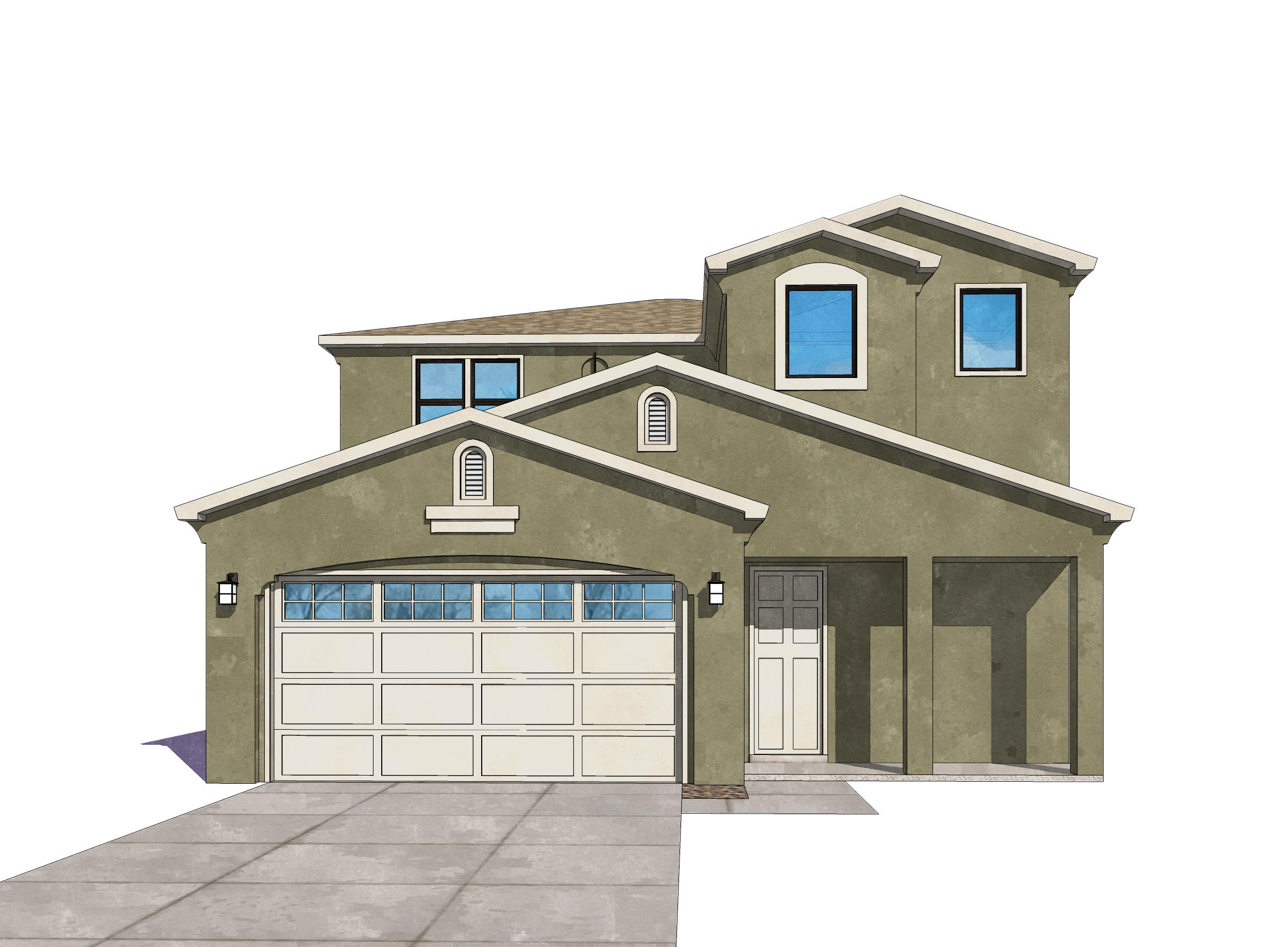 UNDER CONSTRUCTION. October completion. Photos are model renderings. Actual colors and selections may vary. Amazing multi-generational house w/a master up and down, both with separate shower and tub. Plus 2 or 3 addtl bedrooms. Living areas up and down. 3.5 baths. Samsung SS appliances incl range, SxS refrig, DW, micro + washer & dryer (white). Blinds throughout. FP, and energy efficient features: LowE dual pane windows, Energy efficient gas furnace, tankless water heater, Silver rated GreenBuildNM. Home includes a 2-10 Ltd 10 yr warranty + exclusive 1-yr Builder warranty. Tiled kitchen, laundry, baths, dining. Walk in closets. Large island in Kitchen. 9'ceiling with 10' coffered areas. 9'x8' glass sliders to covered patio.