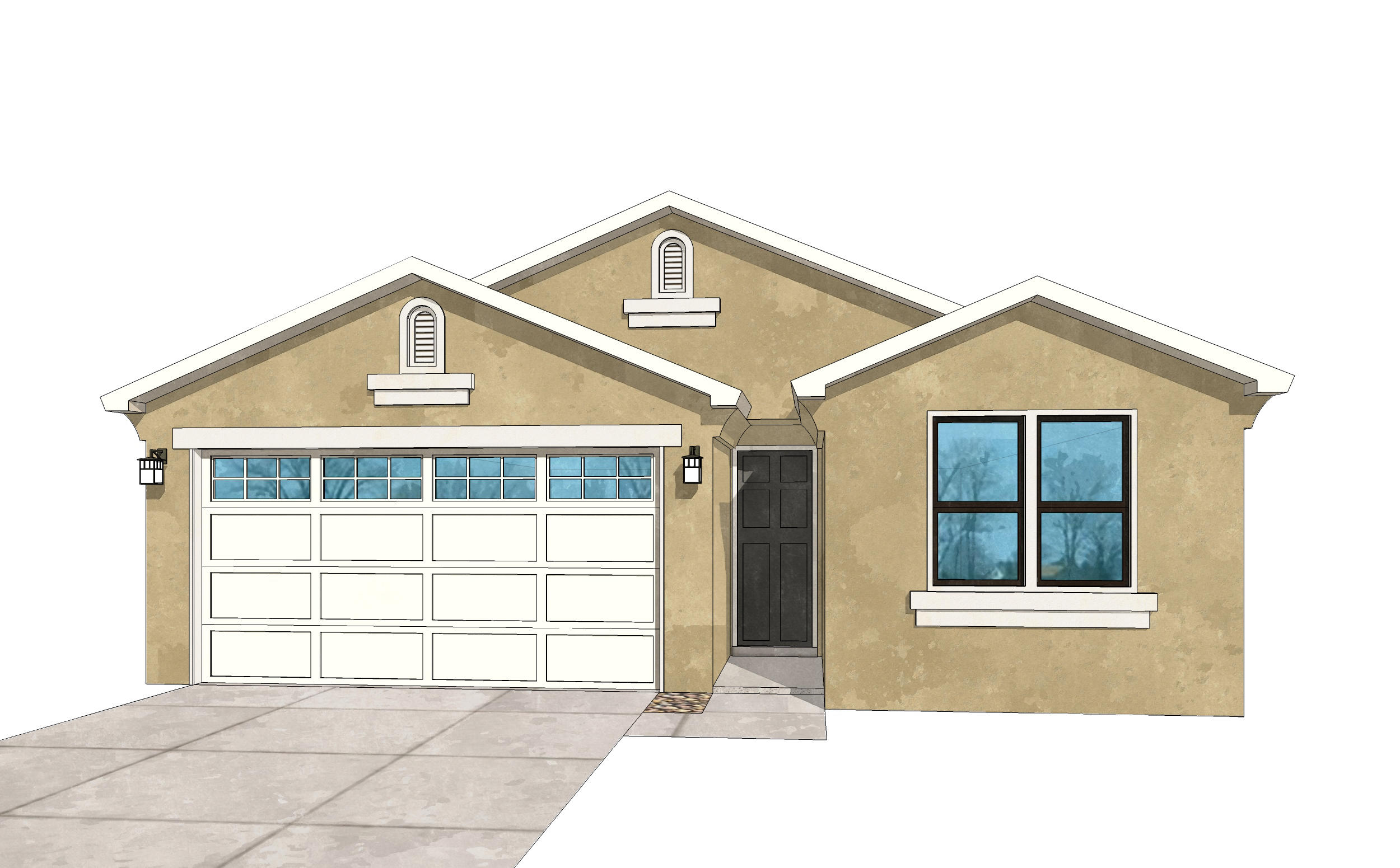 UNDER CONSTRUCTION.Pictures are model representations. Colors and selections may vary. Currently under construction to be ready Sep. Living area features double sliders opening to covered patio with gas FP. Granite in Kitchen & baths, ceramic tile surrounds in shower and bath, Samsung SS appliances including gas stove, microwave, SxS refrigerator, dishwasher and washer and dryer (in white). Blinds throughout, 9' ceilings w/10' coffers in LR and master, ceramic tile floors in entry, kitchen, baths,  laundry, dining area. 8' tall oversized garage door with opener, recessed LED disc lighting. Energy efficient- Build Green NM Silver rated, LowE, vinyl dual pane windows, 95% efficient gas furnace, programmable thermostat. Dual wall and rain head shower heads in master. Don't miss this!
