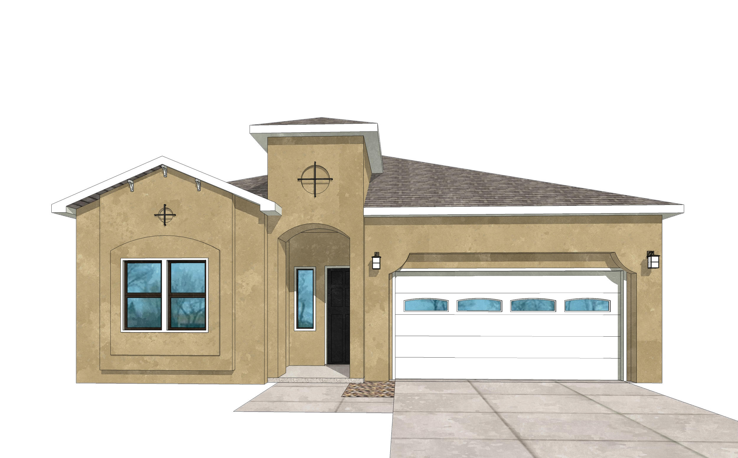 UNDER CONSTRUCTION. Pictures are model representations. Colors and selections may vary. Beautiful home will be ready for Sep move in. Living area features gas FP & double sliders opening to cvrd patio. Granite in Kitchen & baths, ceramic tile surrounds in shower and bath, Samsung SS appliances including gas stove, microwave, SxS refrigerator, dishwasher and washer and dryer (in white). Blinds throughout, 9' ceilings w/10' coffers in LR and master, ceramic tile floors in entry, kitchen, baths, laundry room as well as dining area. 8' tall oversized garage door with opener, recessed LED disc lighting. Energy efficient- Build Green NM Silver rated, LowE, vinyl dual pane windows, 95% efficient gas furnace, programmable thermostat. Dual wall and rain head shower heads in master. Stunning floorp