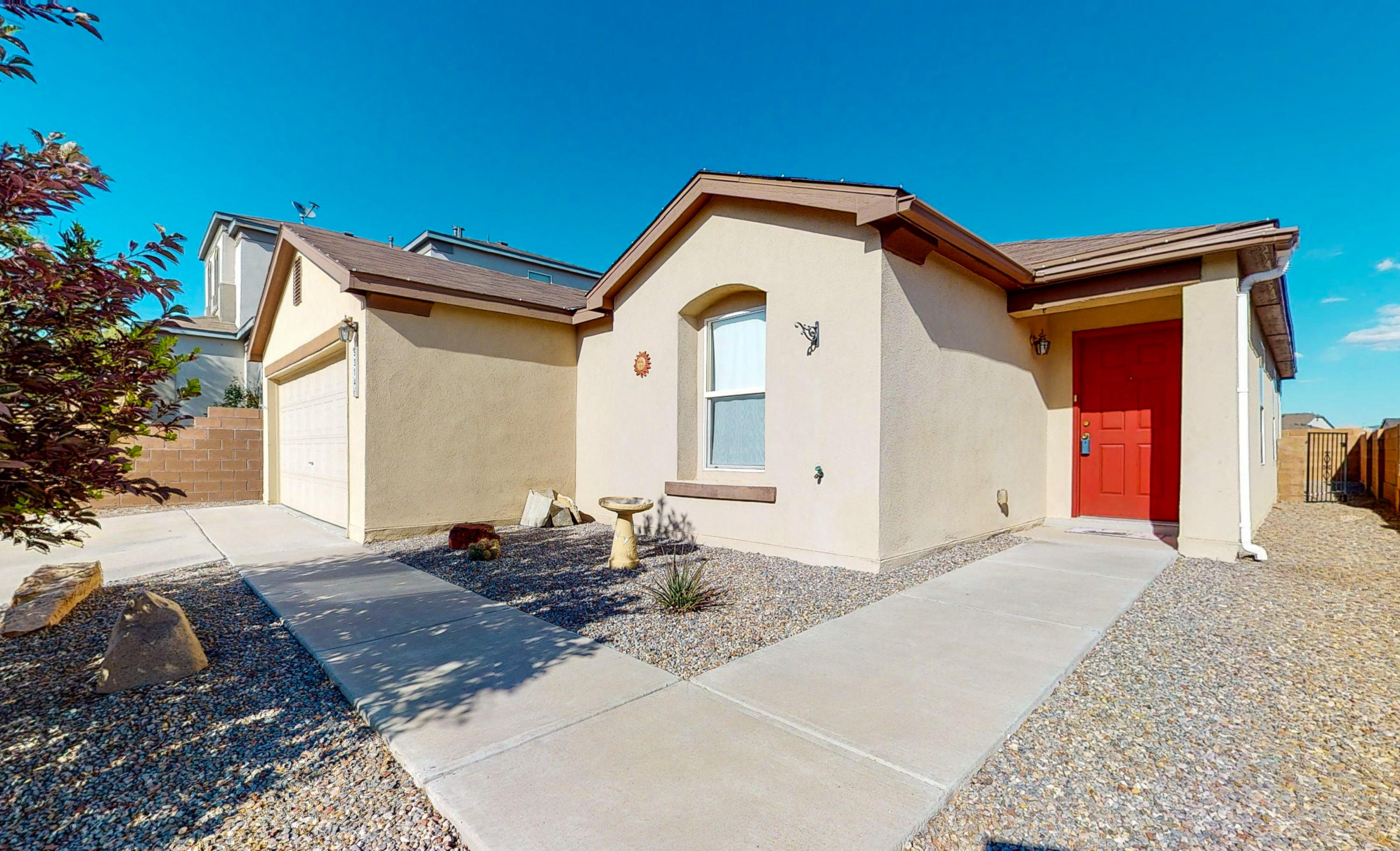 Ready for it's new owner!  Enchanted Hills cutie with 3 bedrooms, 2 baths and 1619 square feet.  Open floor plan with tile floors and new carpet in bedrooms.  All appliances stay including washer and dryer!  New REFRIGERATED air installed July 2019.  Easy care backyard with views of the Sandia Mountains! Close to 550 Access, Bernalillo, Golf, and resort casinos! Schedule a private showing or take a virtual walkthrough tour today!