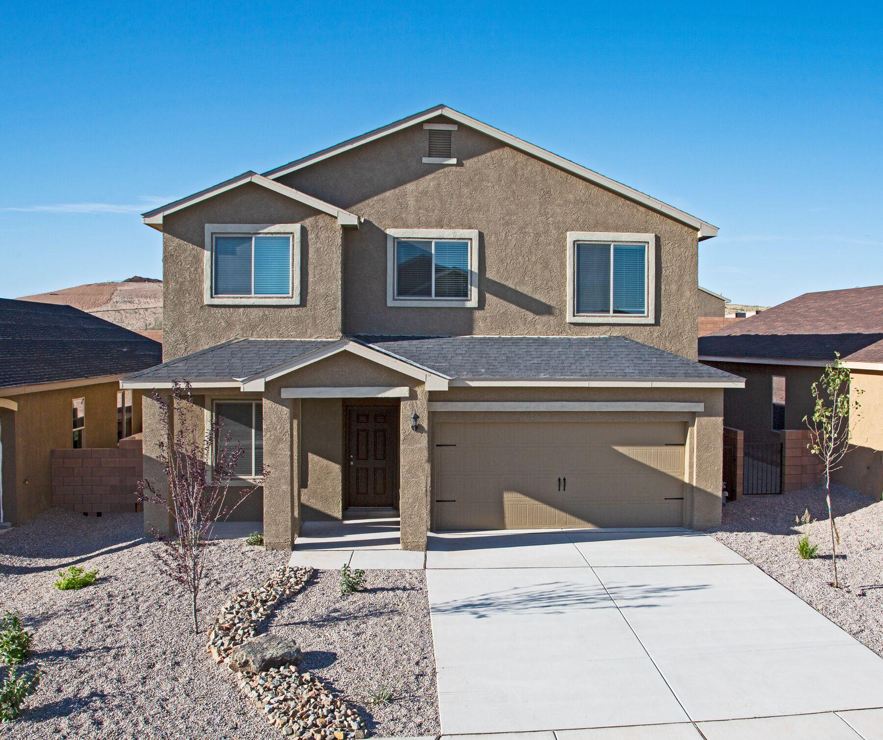 The Cimarron, by LGI Homes, is located within the picturesque community of Entrada at High Range. This beautiful, two story home features an open floor plan, 5 bedrooms and 3 full baths. This new home comes with over $10,000 in upgrades including energy efficient appliances, granite countertops, custom wood cabinets, brushed nickel hardware and an attached two car garage. The Cimarron showcases a master suite complete with a walk-in closet, as well as a separate living room, spacious loft, a full downstairs bathroom, double sinks in all baths, an upstairs laundry room, a fully fenced backyard, covered patio and front yard landscaping.