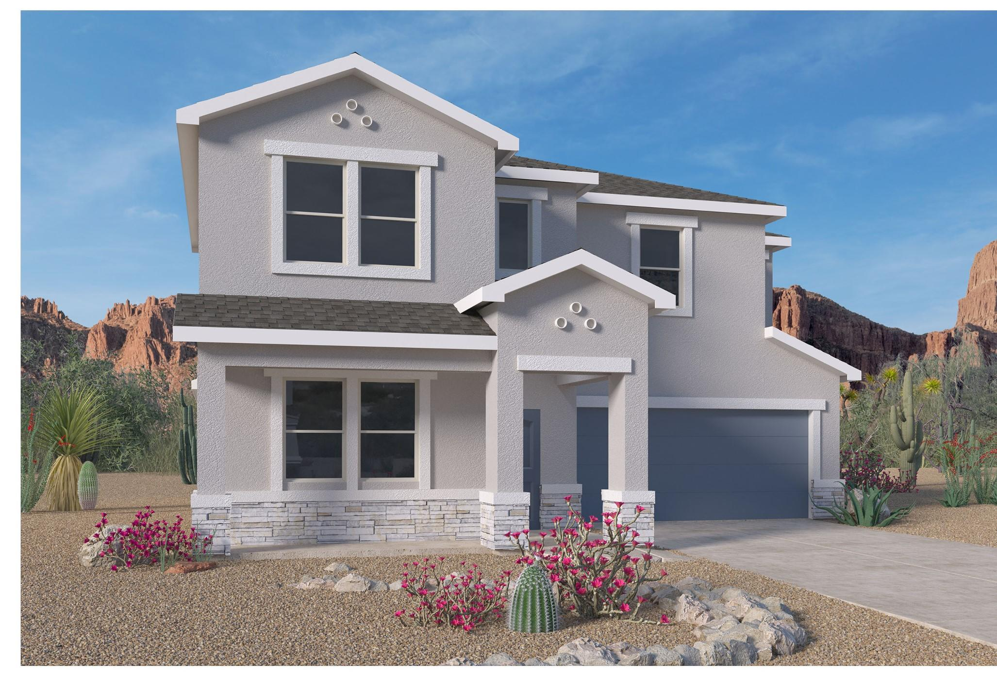 A beautiful NEW home in the VOLTERRA IV Community, this community has so much to offer in SE ABQ! This NEVER LIVED in home is our newly designed ''ORLANDO'' this incredible 2-story with porch and stone in front! An open bright kitchen/dining room area, along with GRANITE counter tops (Standard). This 4 bedroom has the split design has the master bedroom separate from the secondary bedrooms. Very sizable FLEX room. Bonus room upstairs, you'll love the kitchen island, with plenty of space for stools. The kitchen also features a corner pantry and looks out over the spacious great room and dining area. The master suite includes a walk-in closet. The covered patio is a great place to entertain your guests or just relax in your backyard. Close to LABS, Kirkland, & I-40