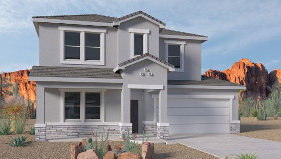 *Home is currently under construction with an estimated completion date in September 2020. Schedule to view the Volterra model home to see the same floor plan/interior colors and features*New New New! The Regan is a thoughtfully designed two-story home with five bedrooms and two-and-a-half bathrooms. The master suite and one bedroom are downstairs with the three secondary bedrooms upstairs plus a big loft/game room! You'll love the kitchen island, with plenty of space for stools and a built-in sink. The kitchen also features a corner pantry and looks out over the spacious great room and dining area. The upstairs game room is a great spot for a secondary living area or a pool table. The covered patio is a great place to entertain your guests or just relax in your backyard