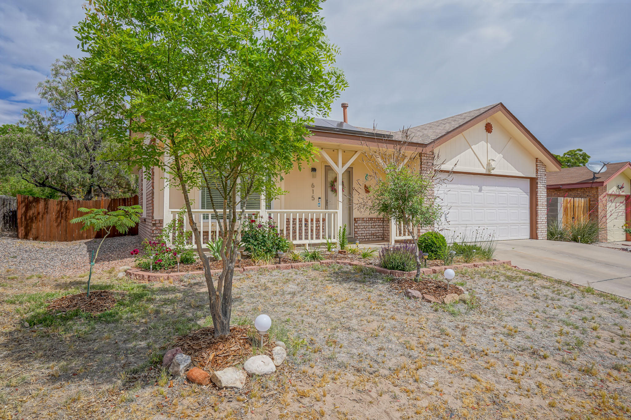 MULTIPLE OFFERS ARE IN. Adorable updated brick two-bedroom home! Modern flare with updated Light fixtures, vaulted ceilings, and tons of Charm! Enjoy entertaining with the open floor plan! The updated kitchen has a gas range, tile backsplash, and newer stainless steel appliances. The master bedroom offers solid bamboo floors and a must-see spa-like master bathroom. The tiered backyard features trees and xeriscaping for easy upkeep and maintenance. Updates include new paint inside and out, refrigerated air & tankless water heater. One owner home! This home also has solar Panels! The Solar panels are owned, and the electric bill is only $8 a month! This cutie won't last long! Schedule a private showing today!