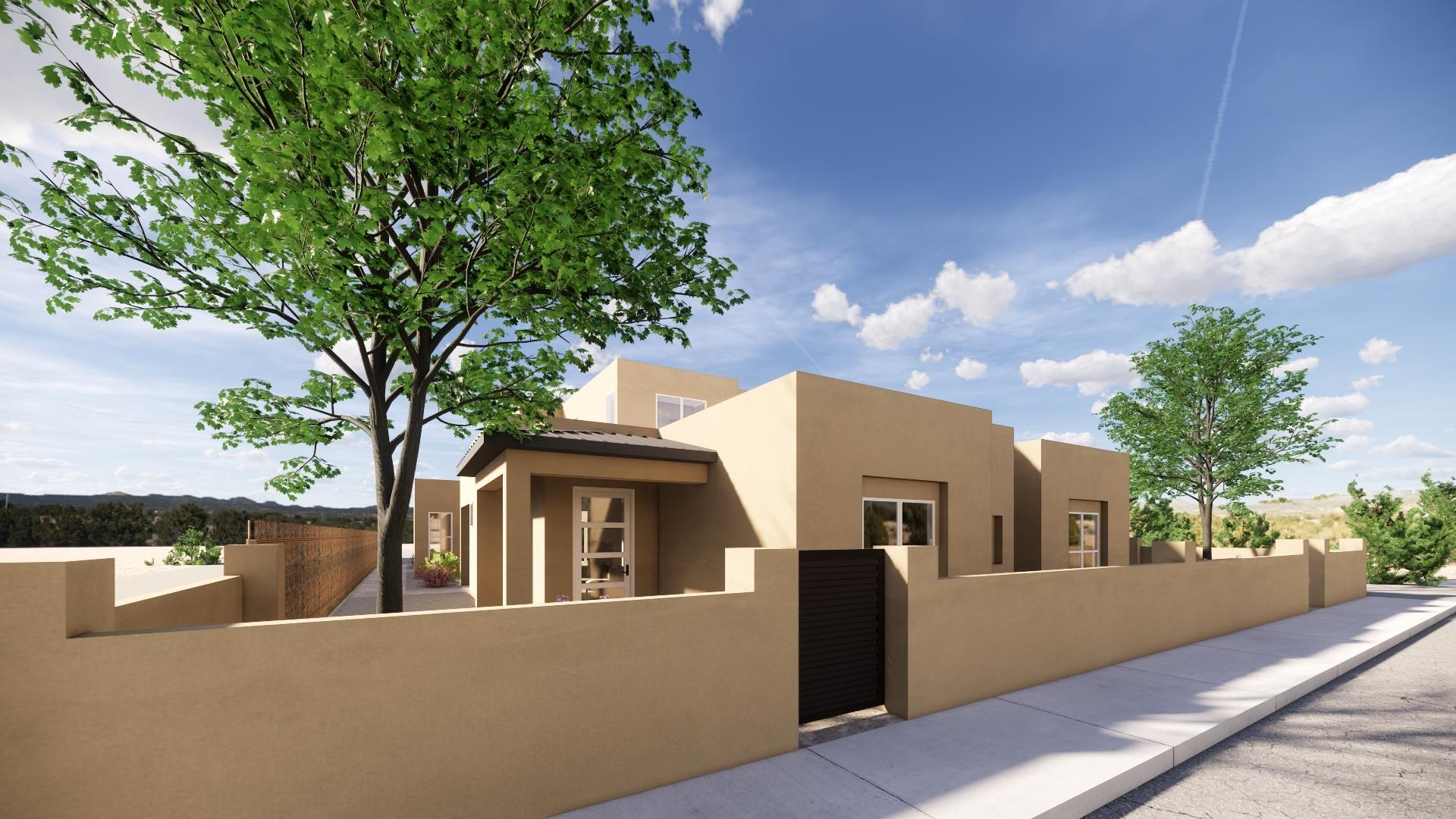 Proposed construction. Still haven't found the perfect home? Located with easy access to I-25 and neighbors to the Santa Fe Community College, this Townhome is ready to-be-built to what suits your style best! Check out the Video Tour now to see how the Open Floorplan will maximize the natural light and creates an inviting atmosphere! You'll notice your new home will have a beautiful kitchen that will boast a large island that looks out onto your covered Patio where you and your guests will gather to make memories! The kitchen also has stainless steel appliances, plenty of counter space and a pantry! With the master located on the main floor and it will be your favorite place to unwind! Outside, you'll find the patio will be the perfect place to enjoy the NM weather.  Two car garage.