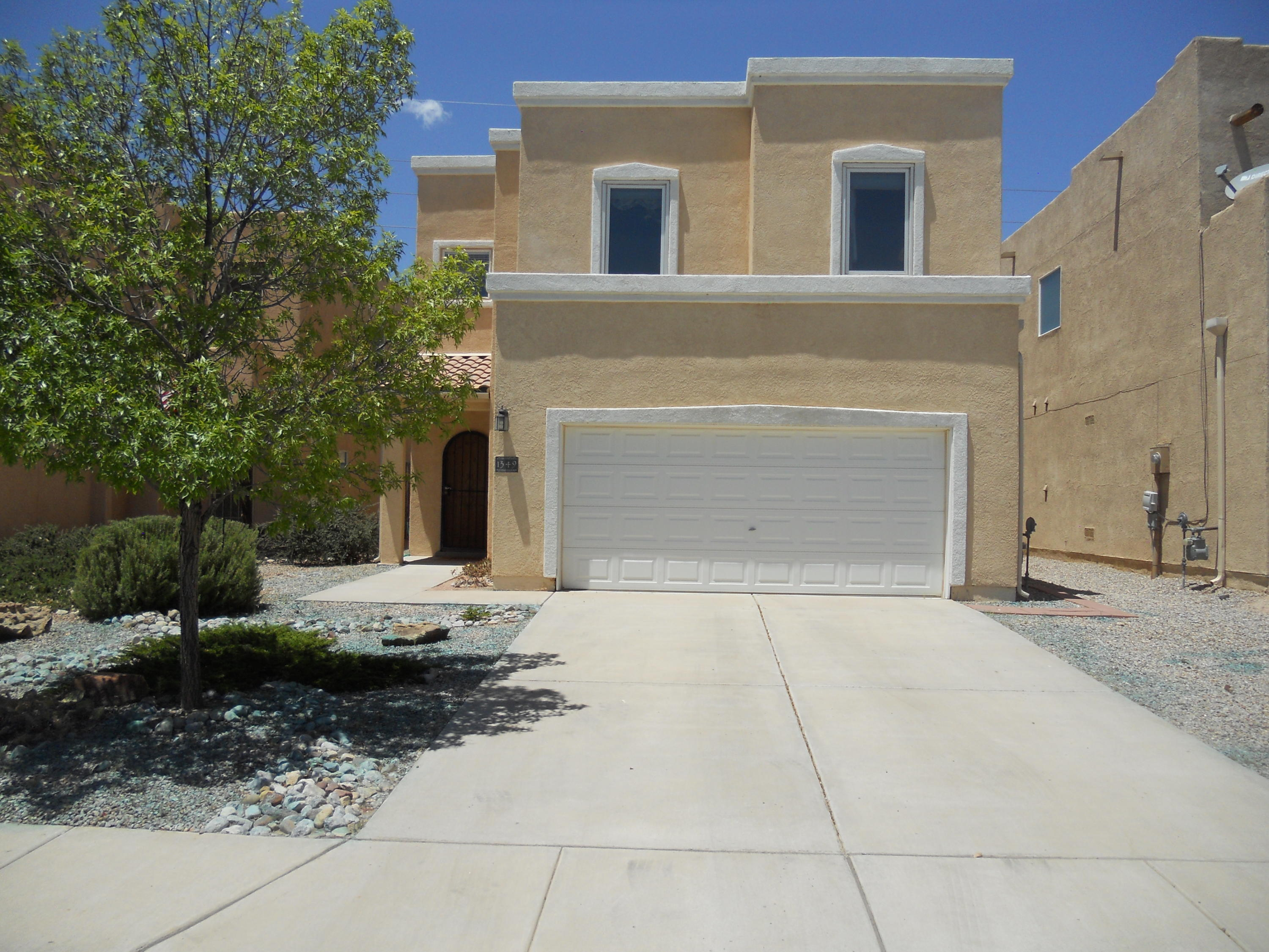 Location, Location, Location! This former CENTEX Model Home is in southern Rio Rancho close to local businesses and restaurants and the Village of Corrales. It has NO HOA but does have many interior upgrades including ceiling fans, Corian countertops, built-in double oven and microwave, and pre-wired speakers in Great Room.Recent improvements include new roof in Feb., 2020, 4 Pella windows in 2012, and adjustable hot water timer.  Master Suite is on ground floor away from upstairs bedrooms. It has a large walk-in closet and separate shower/tub in lg bathroom.   All appliances stay! Interior decorations and furniture are negotiable (in exchange for Buyer's  donation to Seller's favorite Charity).  Don't lose out on this GREAT home!Seller requires 24 hr to respond to Offer.