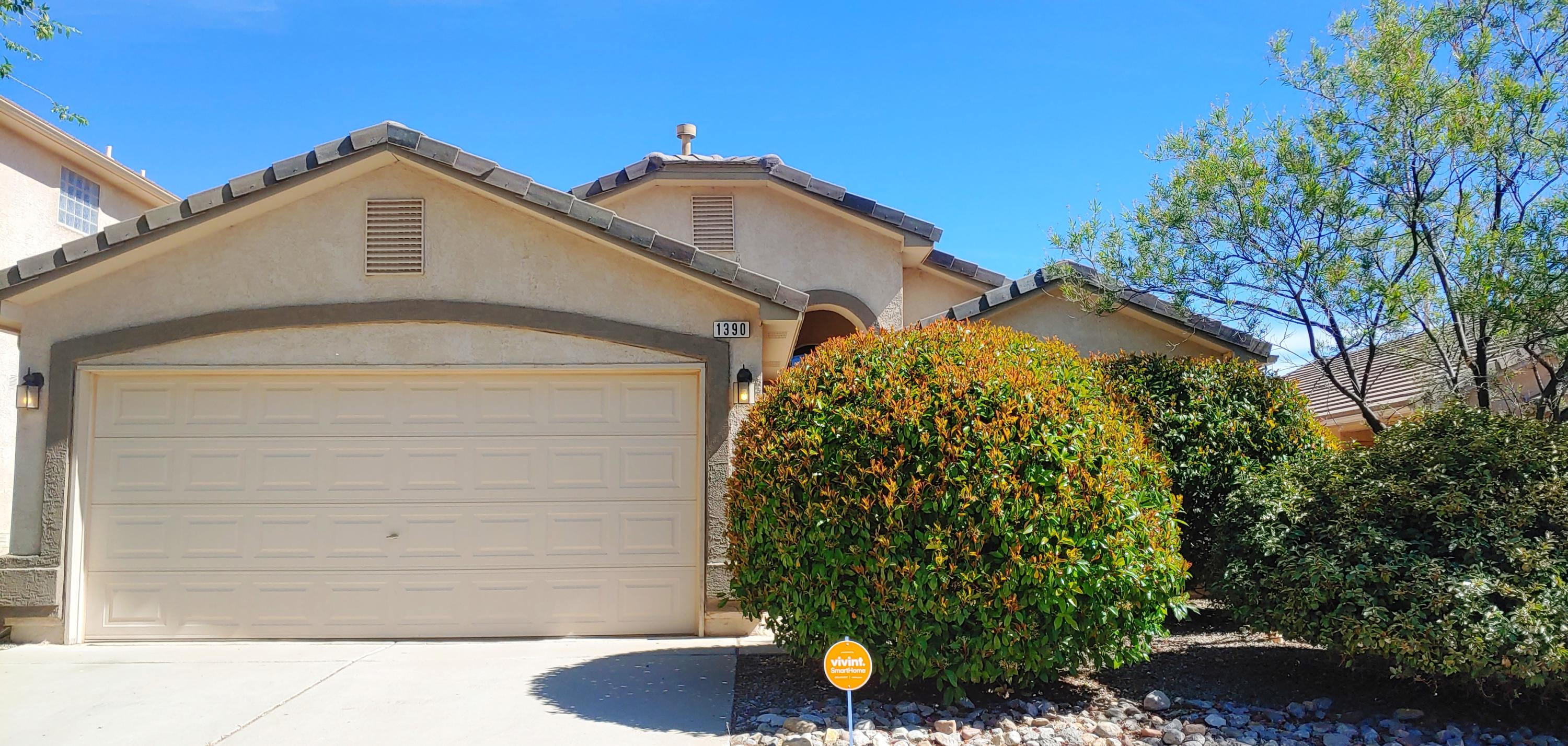 Well maintained 3 Bedroom/2 Car Garage home in Cabezon with new flooring in Great room, Hallway and Kitchen, new paint, updated light fixtures, raised ceilings, walk in closet, a bright home with simulated glass accents, blinds, covered patio. MUST SEE!