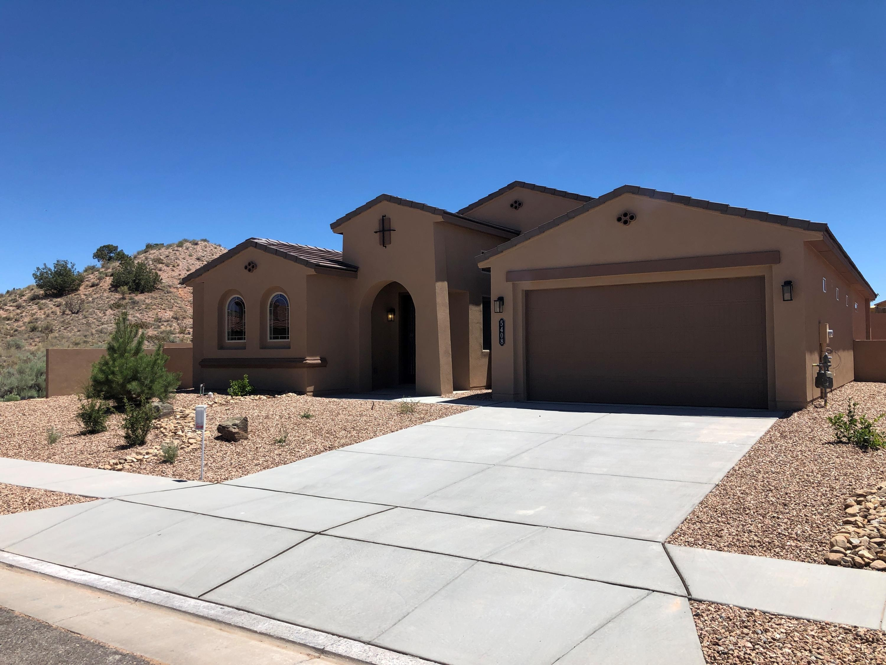 This beautiful Buxton floorplan sits on an over-sized, 83 foot lot at The Peaks in fabulous Mariposa. The open living area has lots of natural light and is an entertainers delight. Kitchen has granite counters and island. Whirlpool stainless appliances include: 5-burner cooktop, vent, dishwasher and built-in oven and microwave. New Mexico Green Built And a SMART HOME. Enjoy the lifestyle of a Private Community Center that offers indoor and outdoor pools, parks, fitness center, full time activity director, and miles of hiking/biking trails. It's all about Lifestyle at beautiful Mariposa.