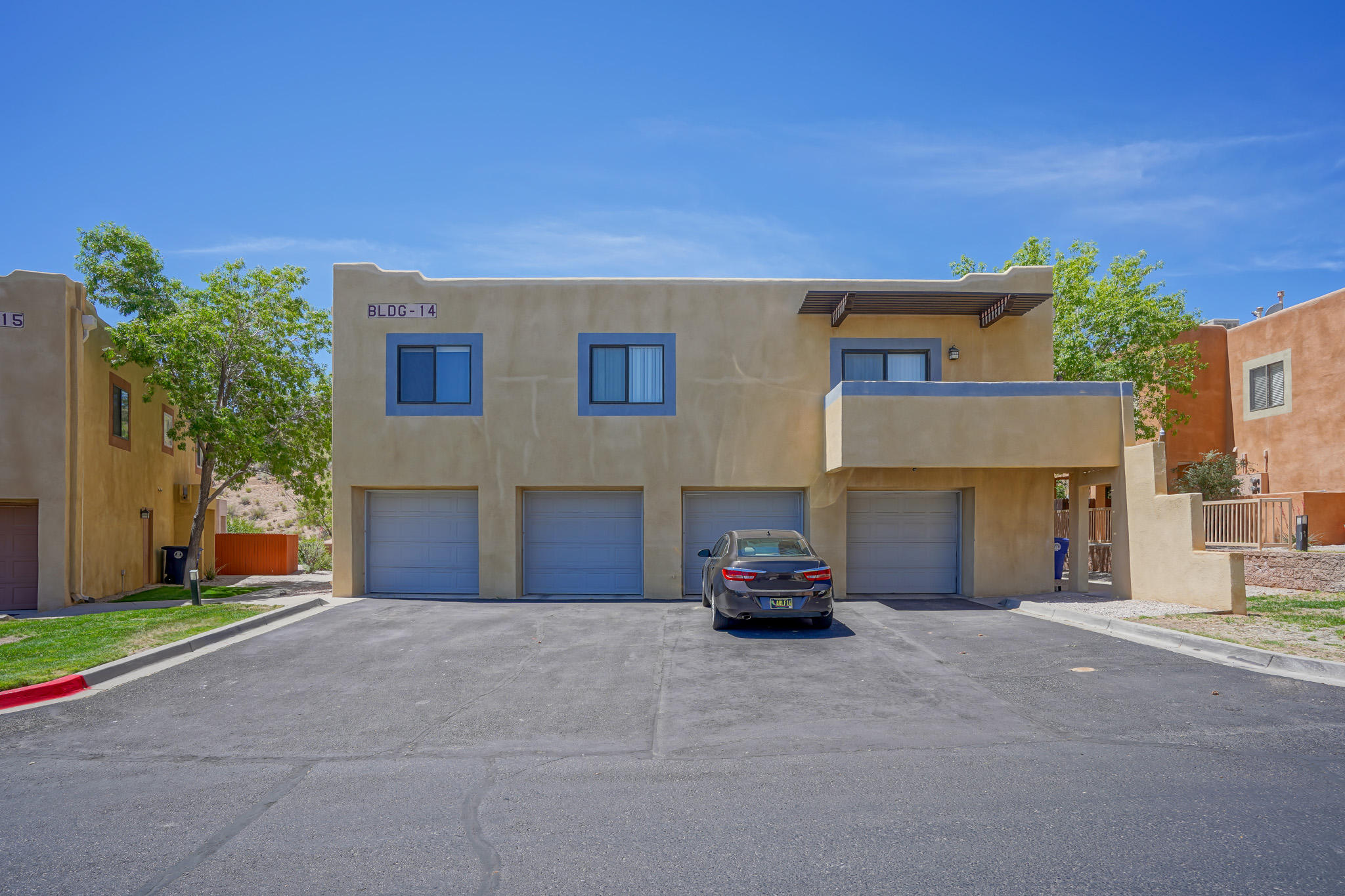 Welcome to this lovely 2 bedroom, 1 bath home in the popular Arroyo Del Sol community. Desirable back unit & the entire living space is on the ground floor.  Open floor plan, great room has a gas log fireplace with tile surrounds, private patio off the kitchen. Single car garage.  Close to shopping.